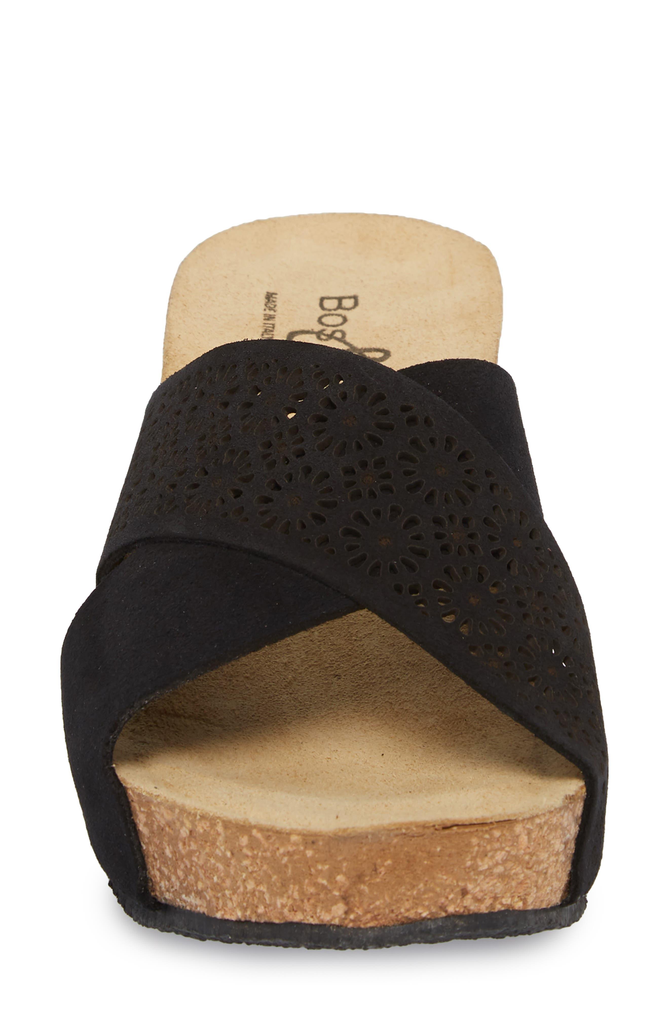 BOS. & CO., Lomi Platform Wedge Slide Sandal, Alternate thumbnail 4, color, BLACK SUEDE