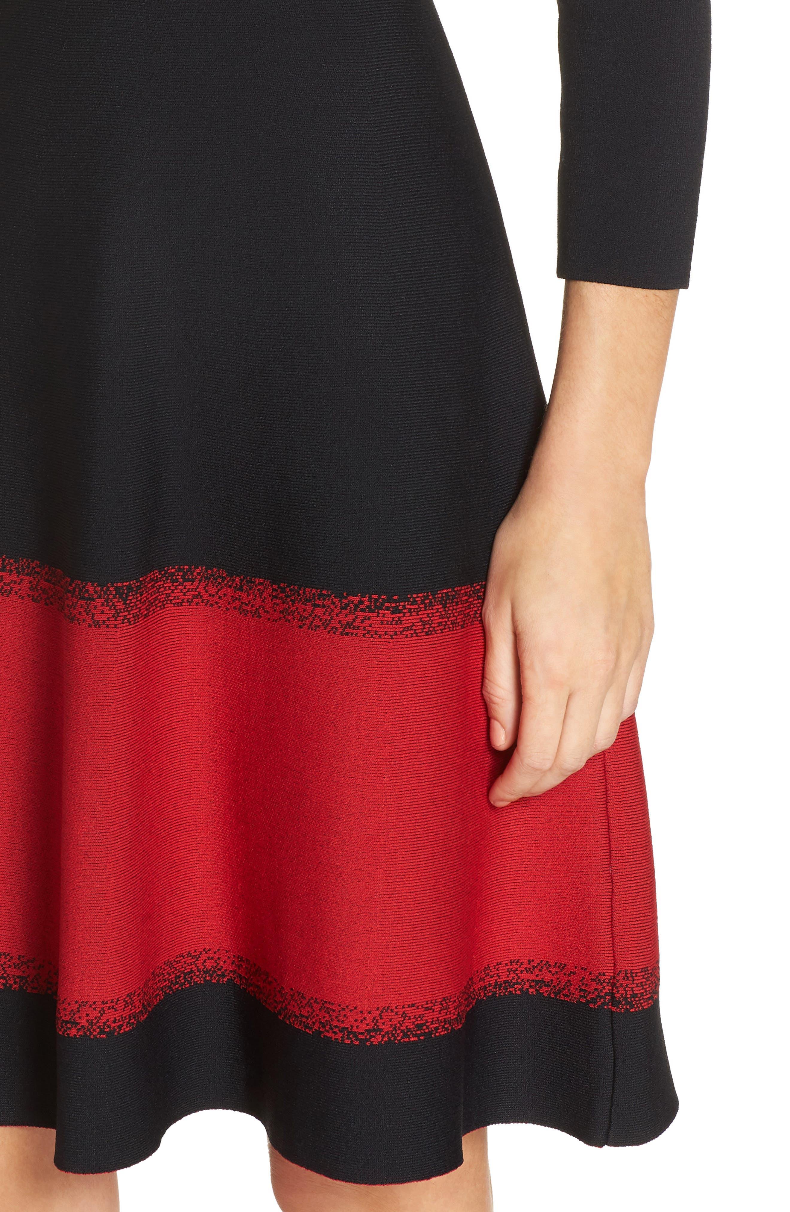 ELIZA J, Contrast Stripe Fit & Flare Dress, Alternate thumbnail 5, color, 001