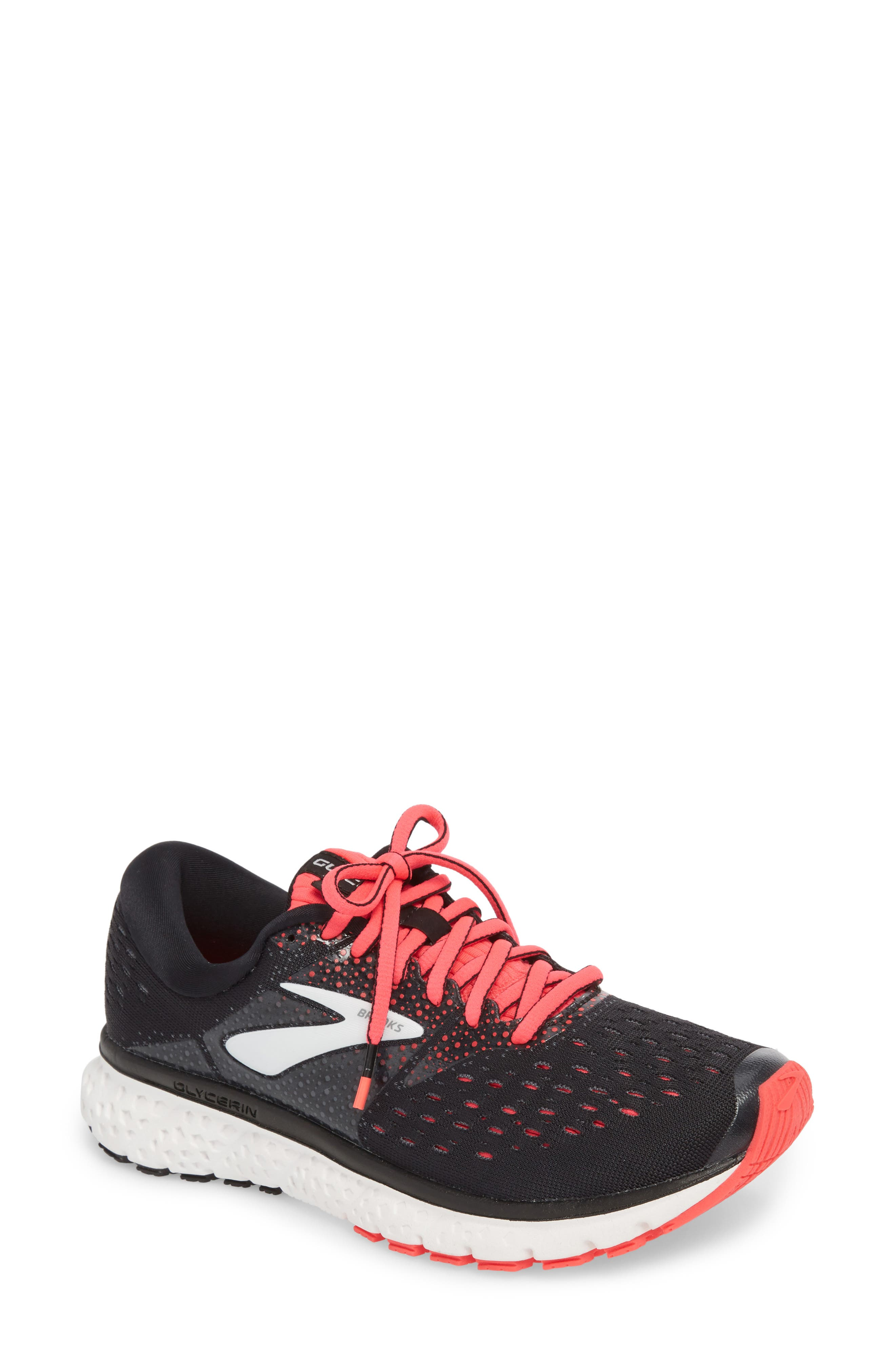 BROOKS, Glycerin 16 Running Shoe, Main thumbnail 1, color, BLACK/ PINK/ GREY