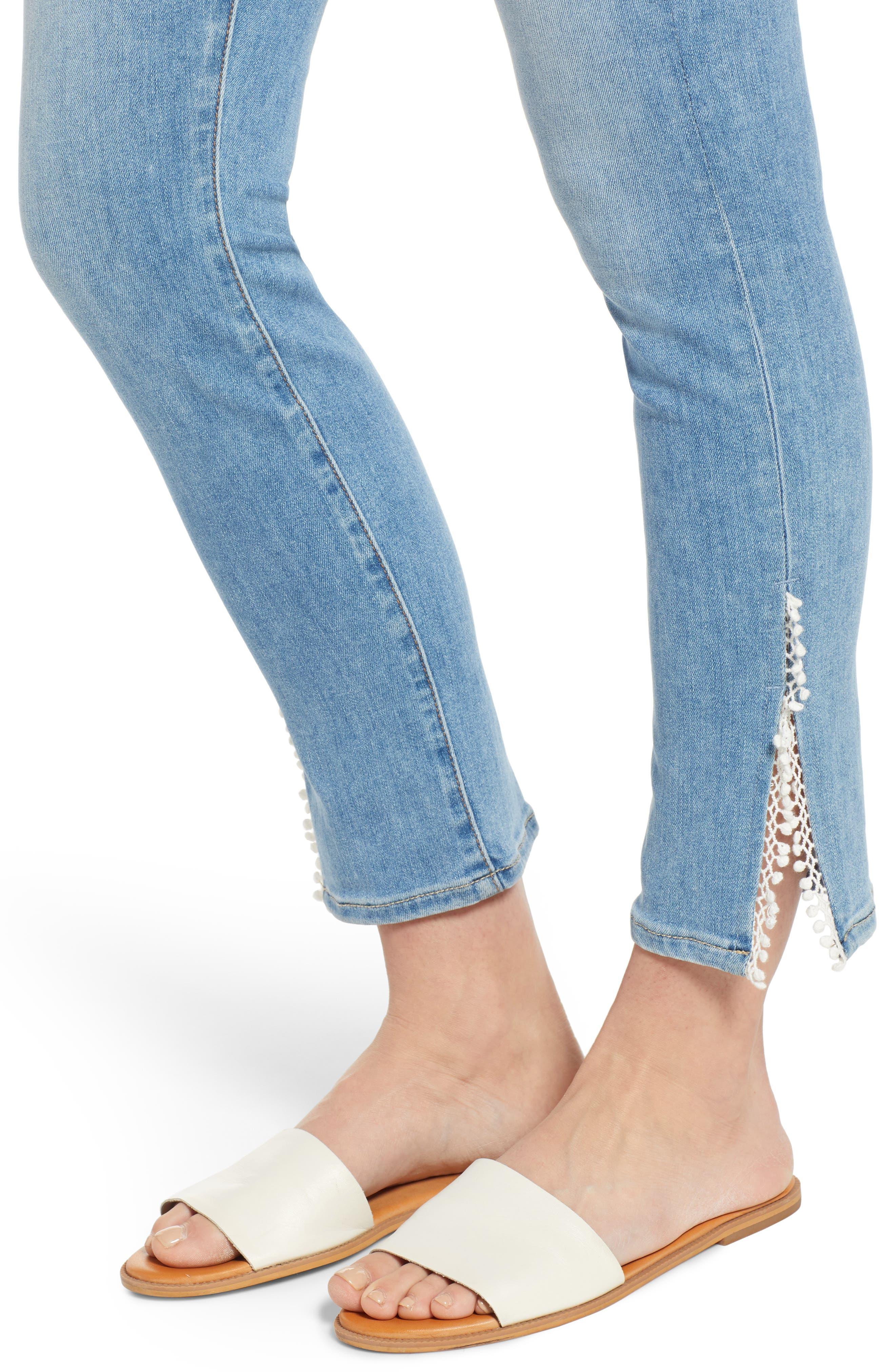 JEN7 BY 7 FOR ALL MANKIND, Pompom Detail Crop Skinny Jeans, Alternate thumbnail 4, color, LA QUINTA POM POM