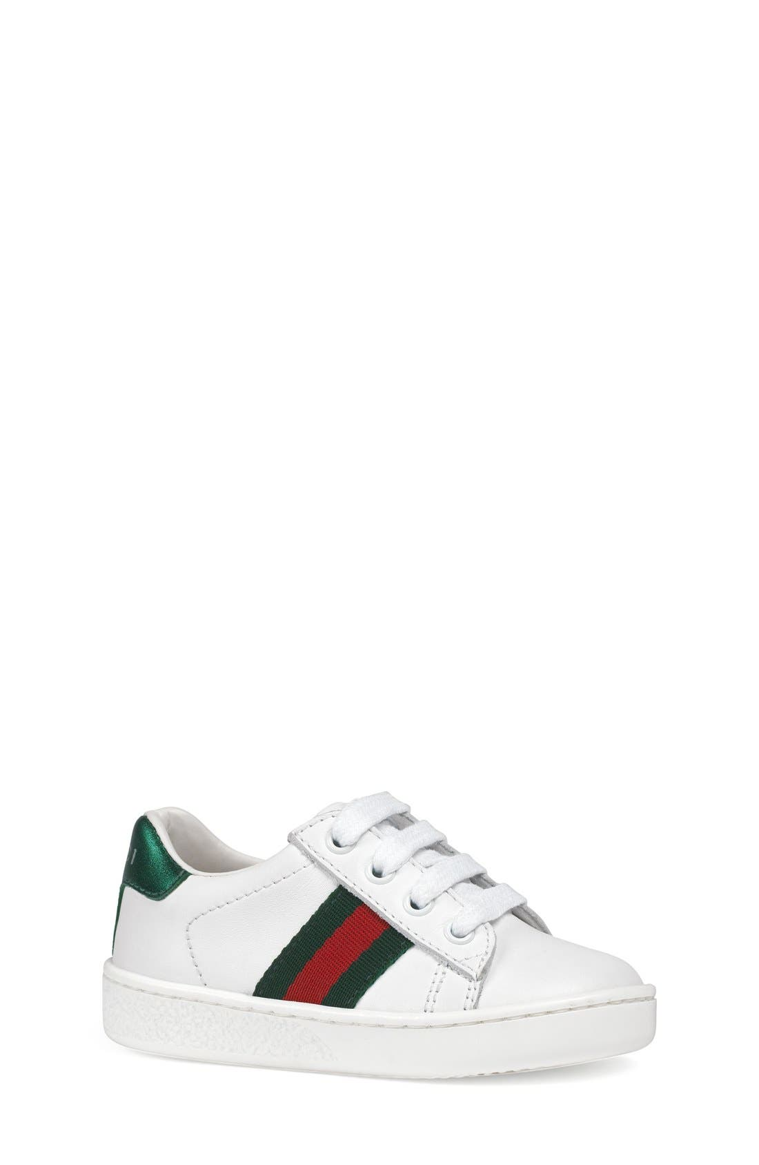 GUCCI, 'Ace' Sneaker, Main thumbnail 1, color, WHITE/ GREEN
