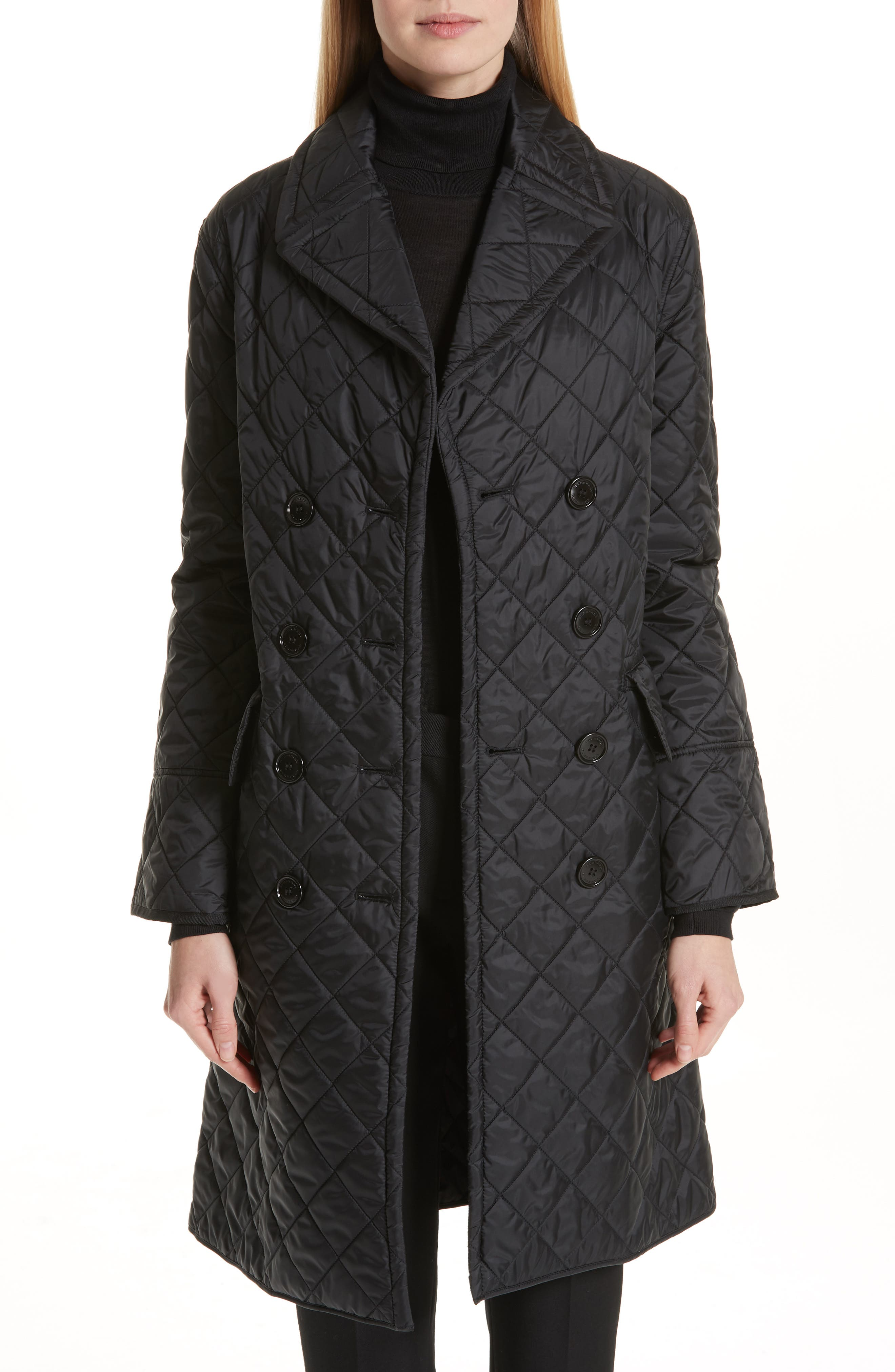 BURBERRY, Horberie Quilted Trench Coat, Main thumbnail 1, color, BLACK