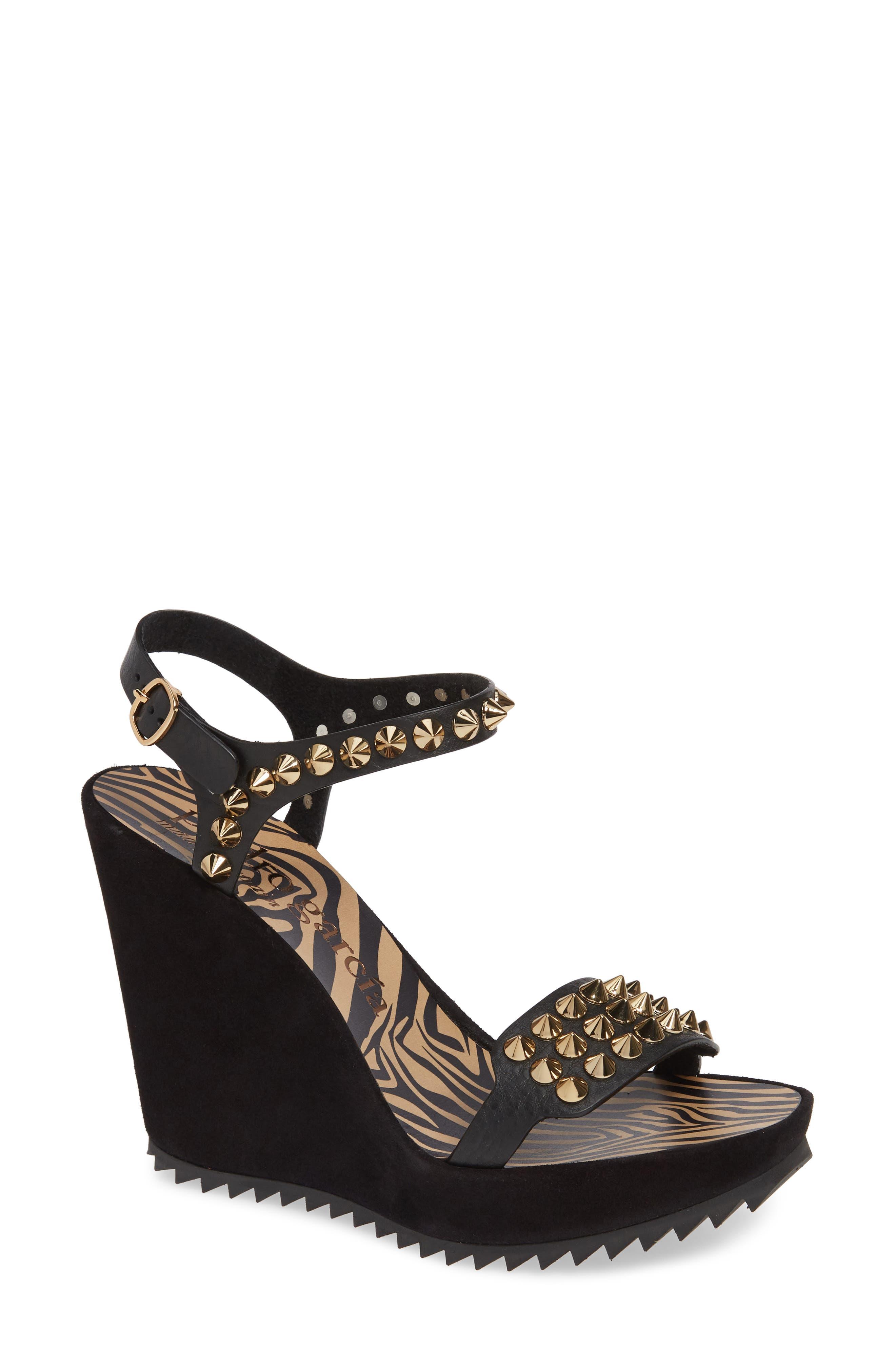 PEDRO GARCIA Voka Studded Wedge Sandal, Main, color, BLACK SUEDE
