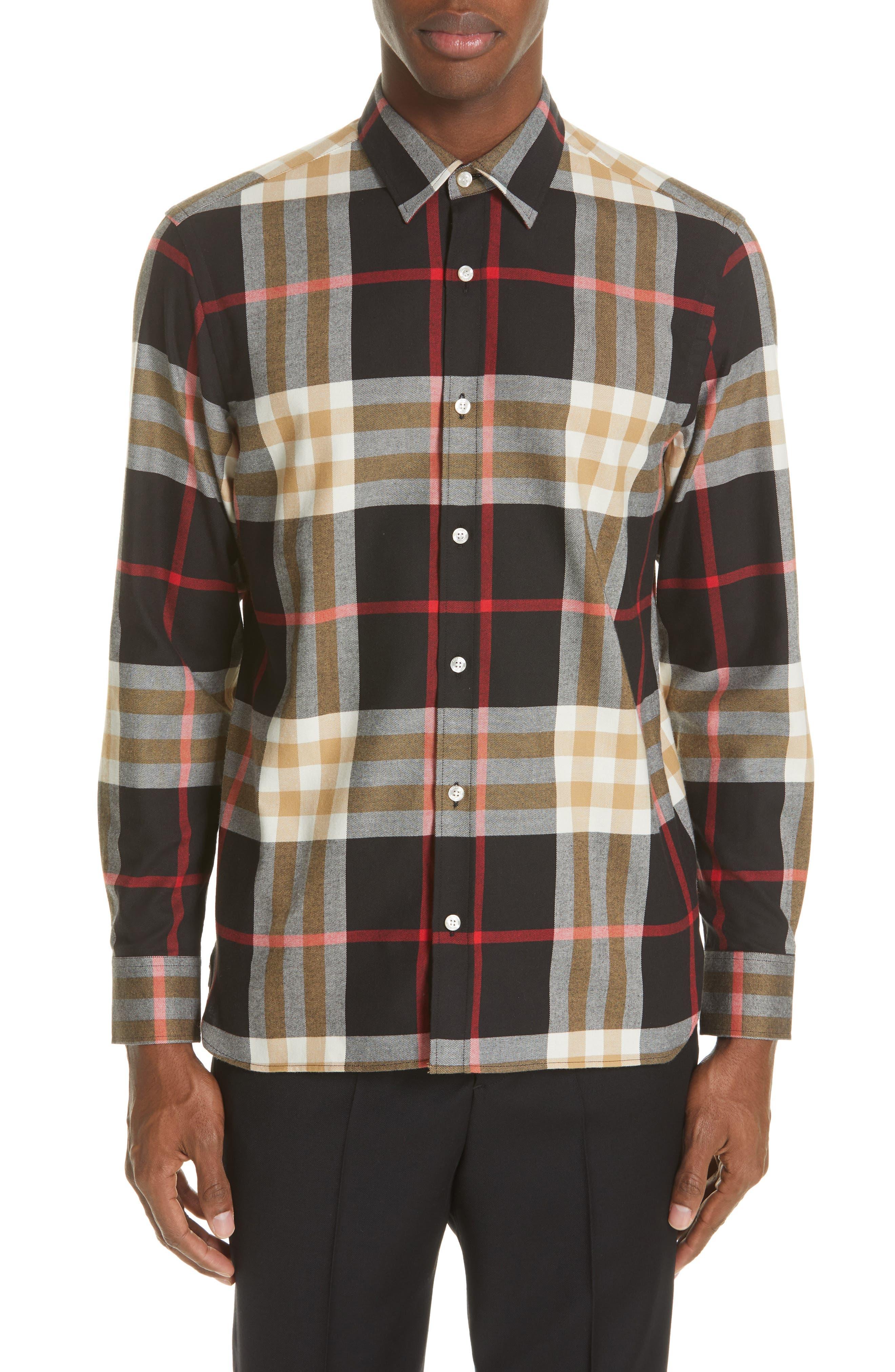 BURBERRY, Richard Slim Fit Plaid Sport Shirt, Main thumbnail 1, color, BLACK CHECK