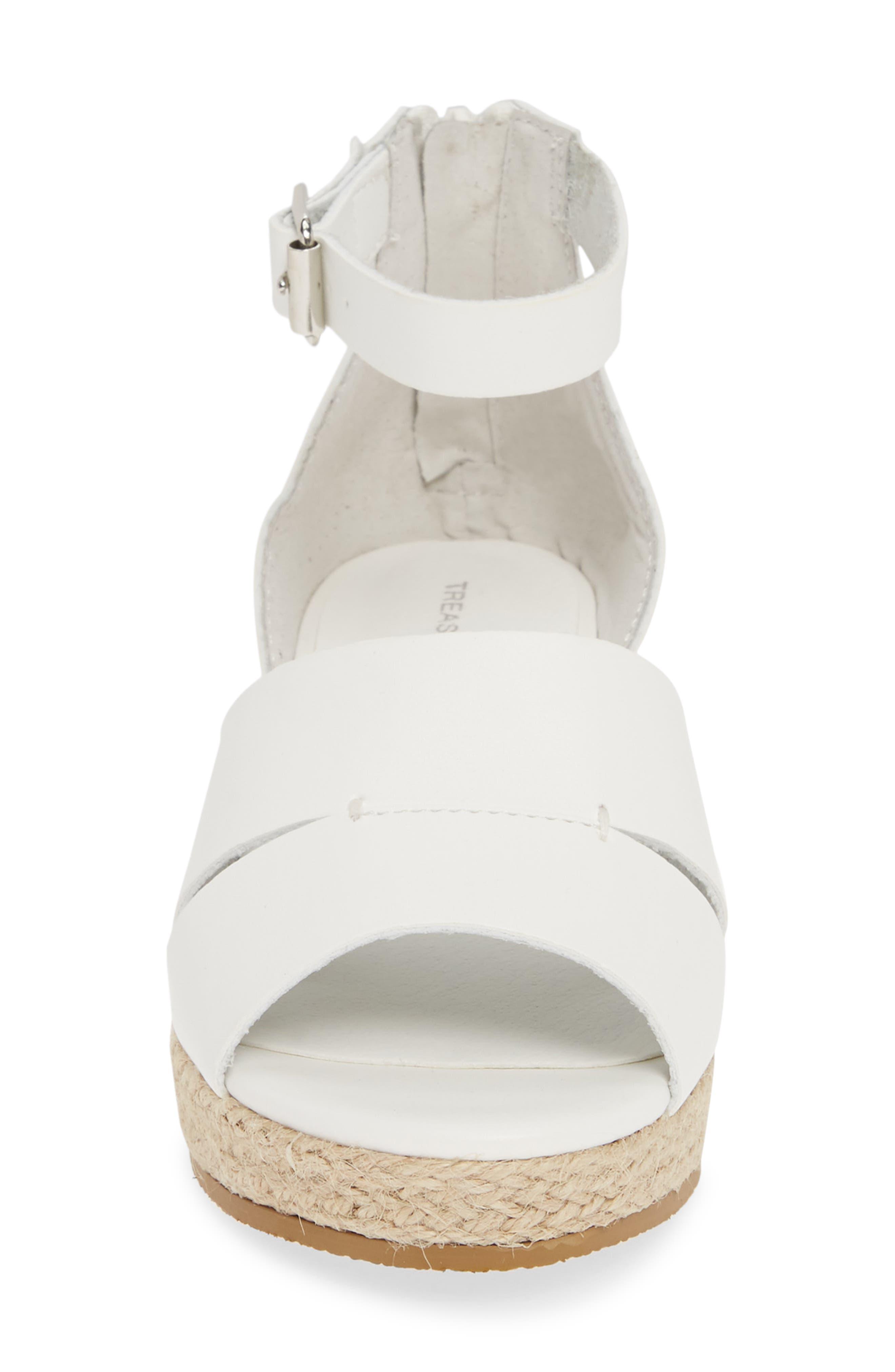 TREASURE & BOND, Espadrille Wedge Sandal, Alternate thumbnail 4, color, WHITE FAUX LEATHER