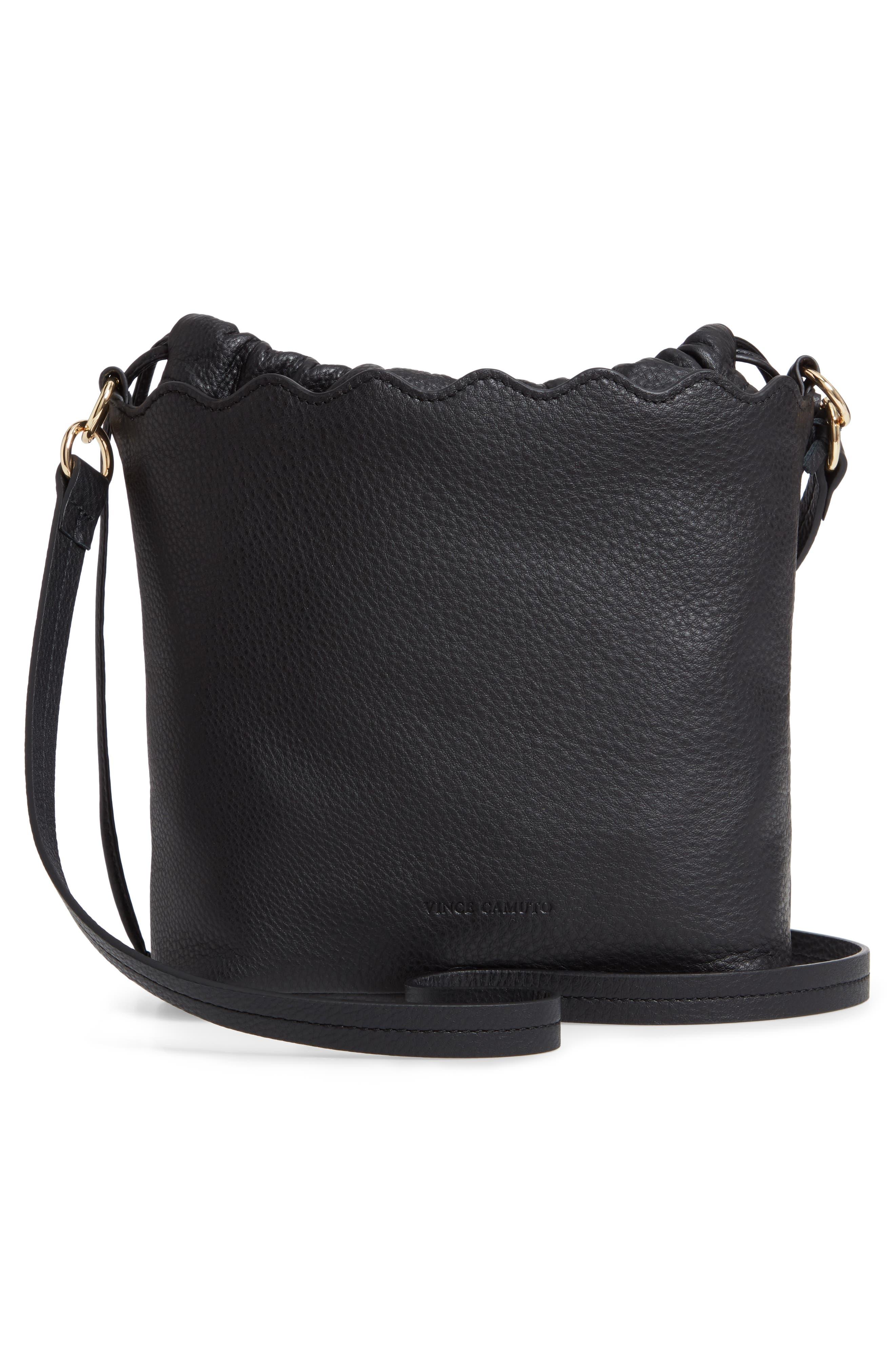 VINCE CAMUTO, Wavy Leather Bucket Bag, Alternate thumbnail 4, color, BLACK