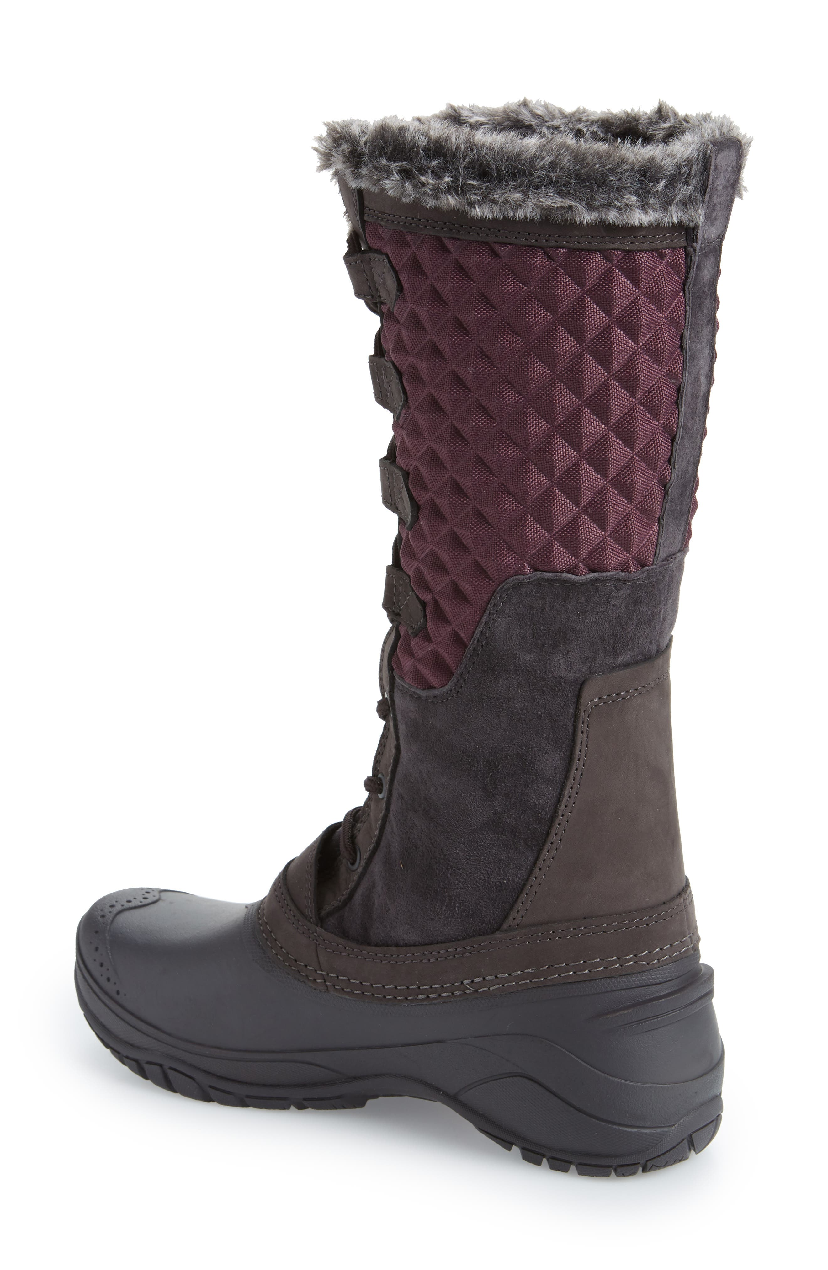 THE NORTH FACE, Shellista III Tall Waterproof Insulated Winter Boot, Alternate thumbnail 2, color, FIG/ WEATHERED BLACK