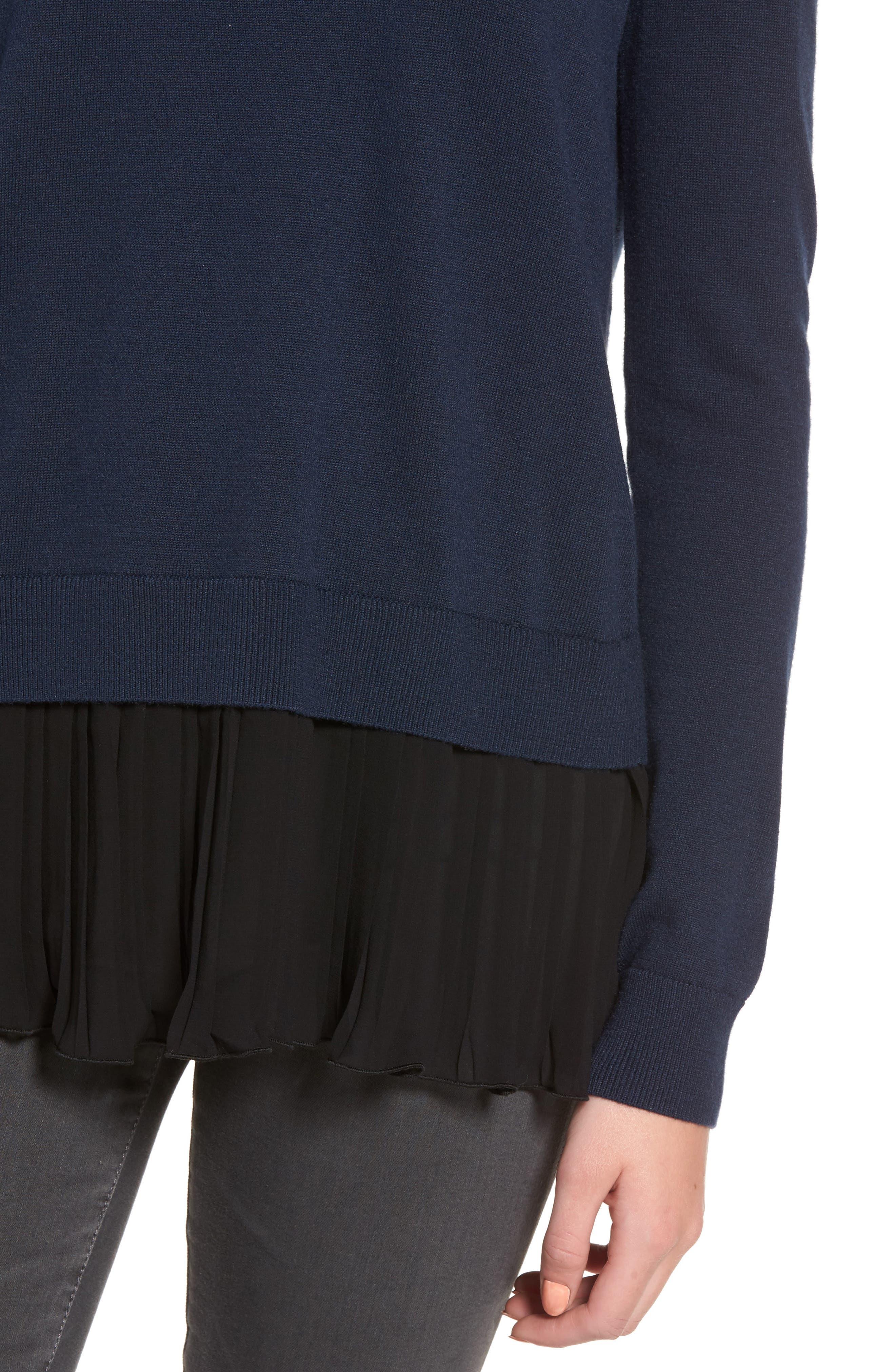 CHELSEA28, Pleated Hem Sweater, Alternate thumbnail 4, color, 410
