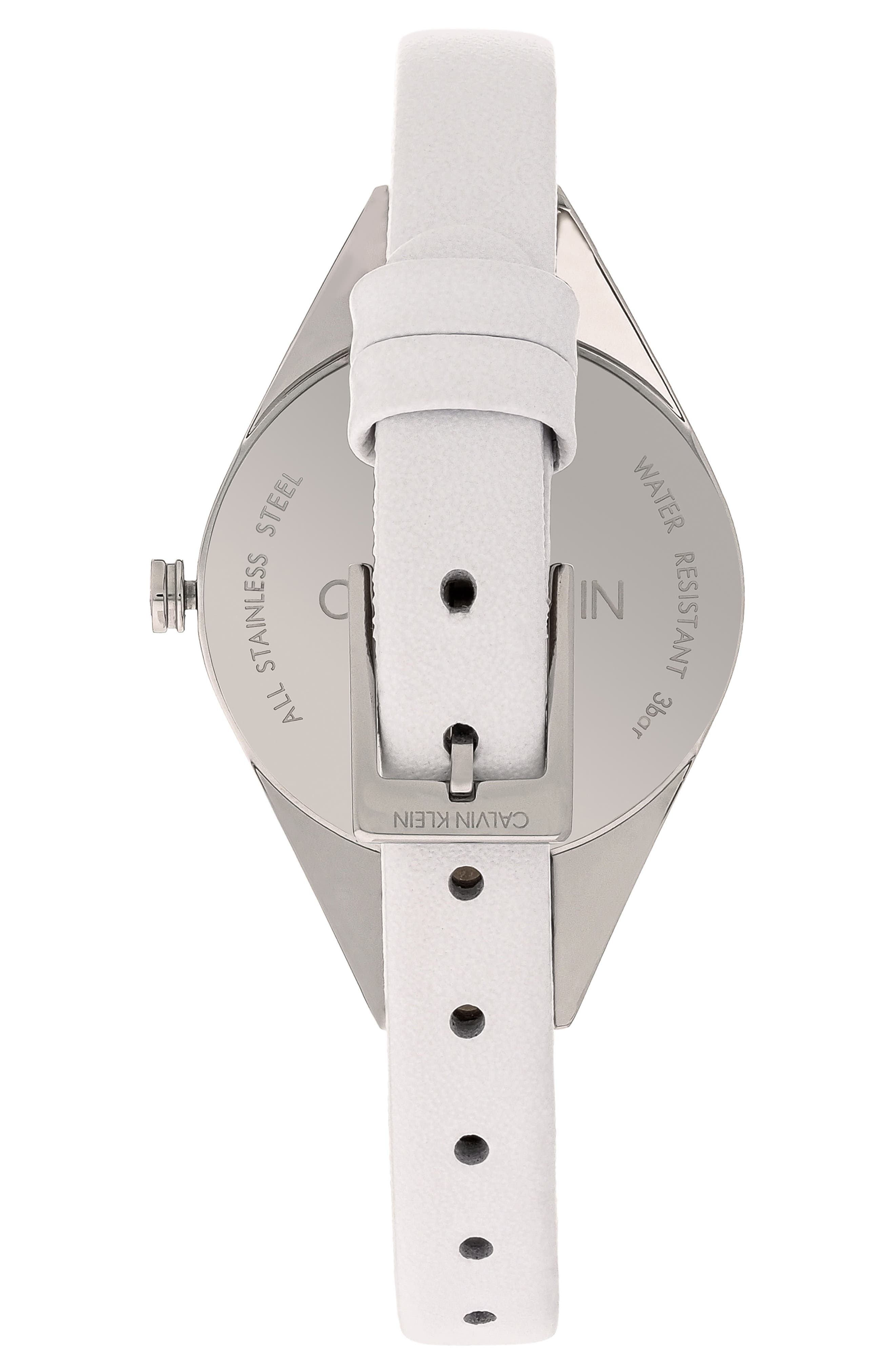 CALVIN KLEIN, Achieve Rebel Leather Band Watch, 29mm, Alternate thumbnail 2, color, WHITE/ SILVER