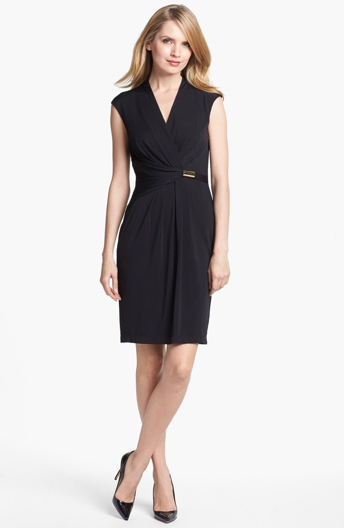 ELLEN TRACY, Ruched Jersey Sheath Dress, Main thumbnail 1, color, 001