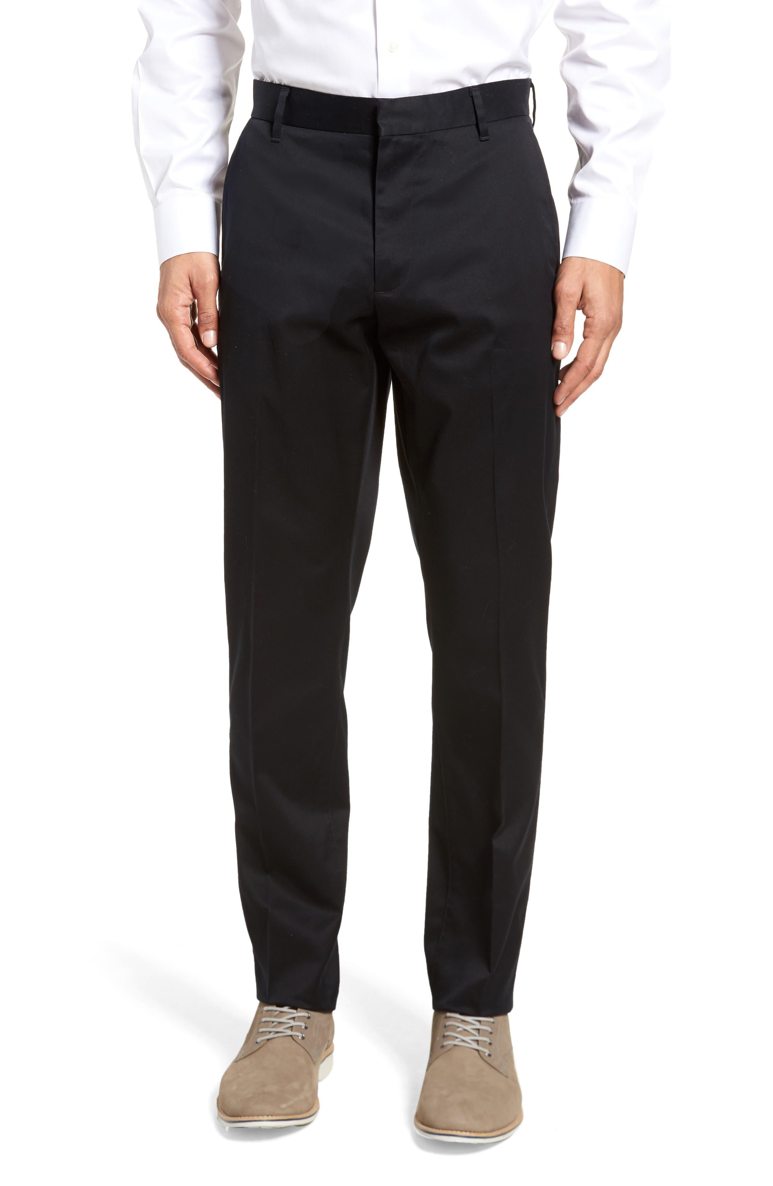 NORDSTROM MEN'S SHOP Athletic Fit Non-Iron Chinos, Main, color, BLACK CAVIAR