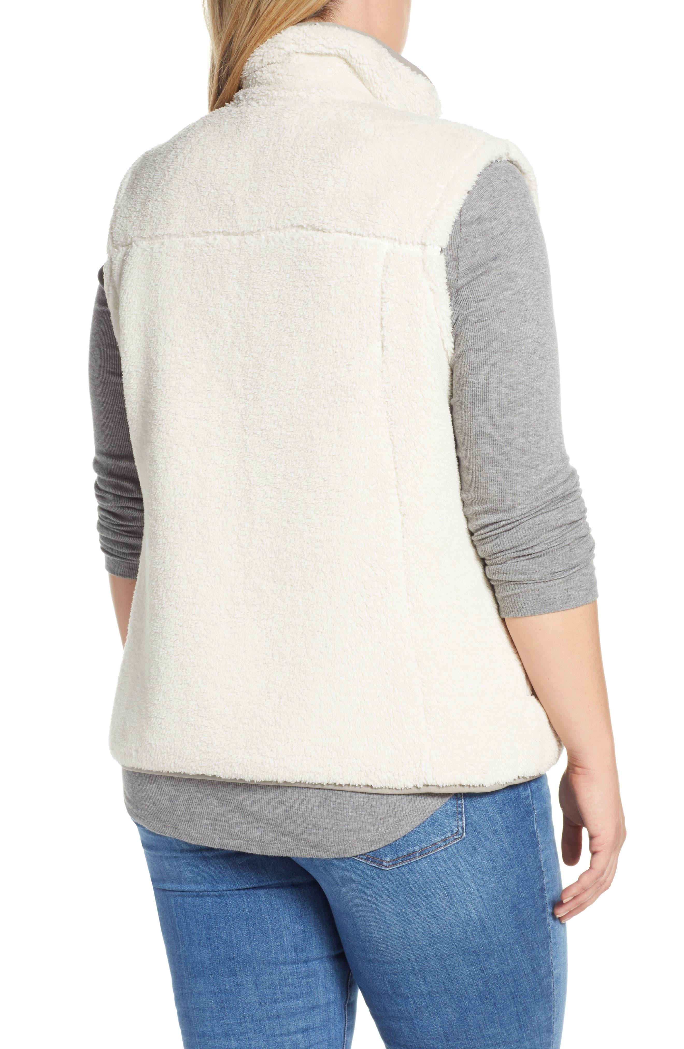 THE NORTH FACE, Campshire Fleece Vest, Alternate thumbnail 3, color, VINTAGE WHITE/ GREY