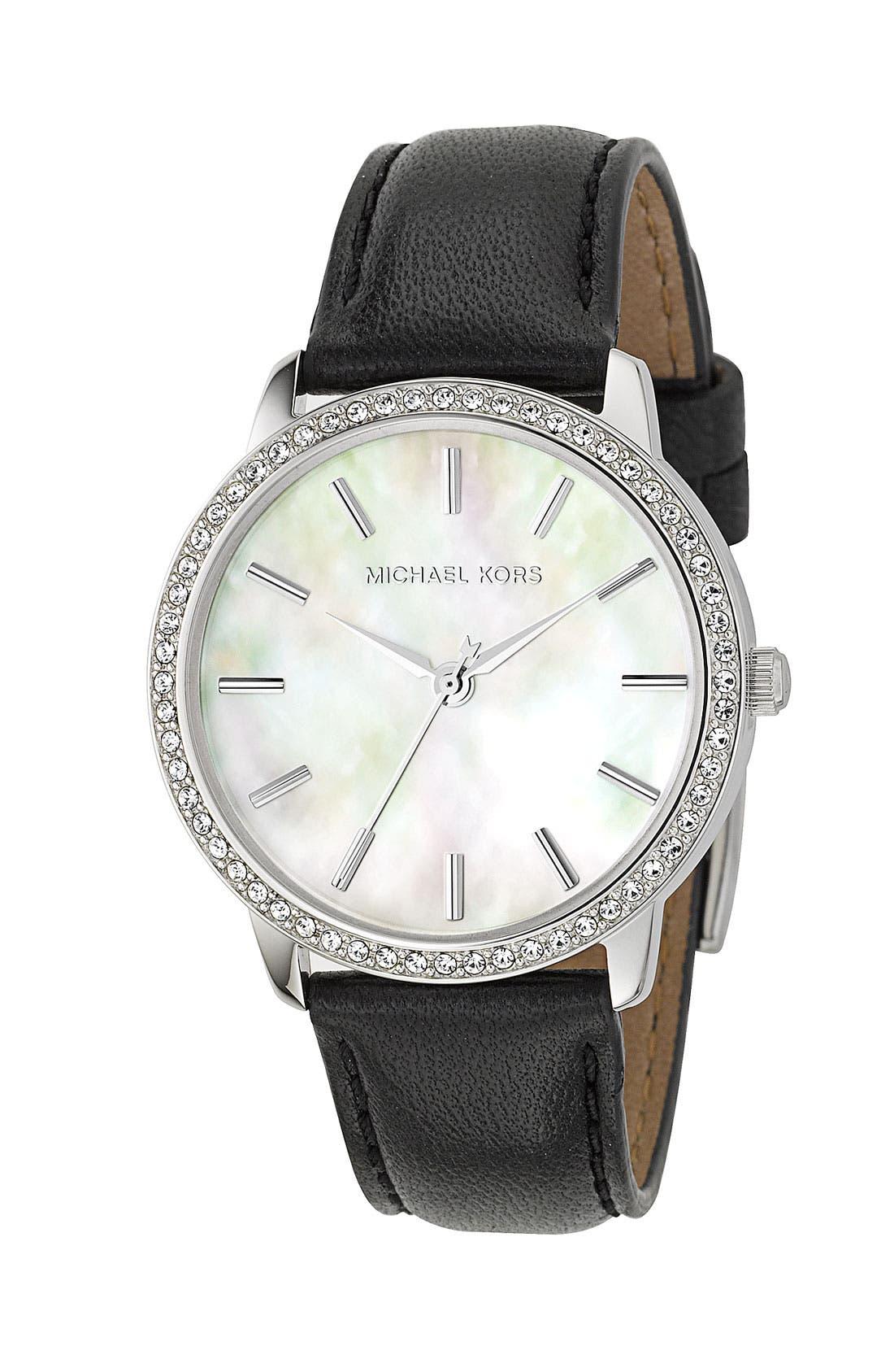 MICHAEL MICHAEL KORS, Michael Kors Crystal Rim Bracelet Watch, Main thumbnail 1, color, 002