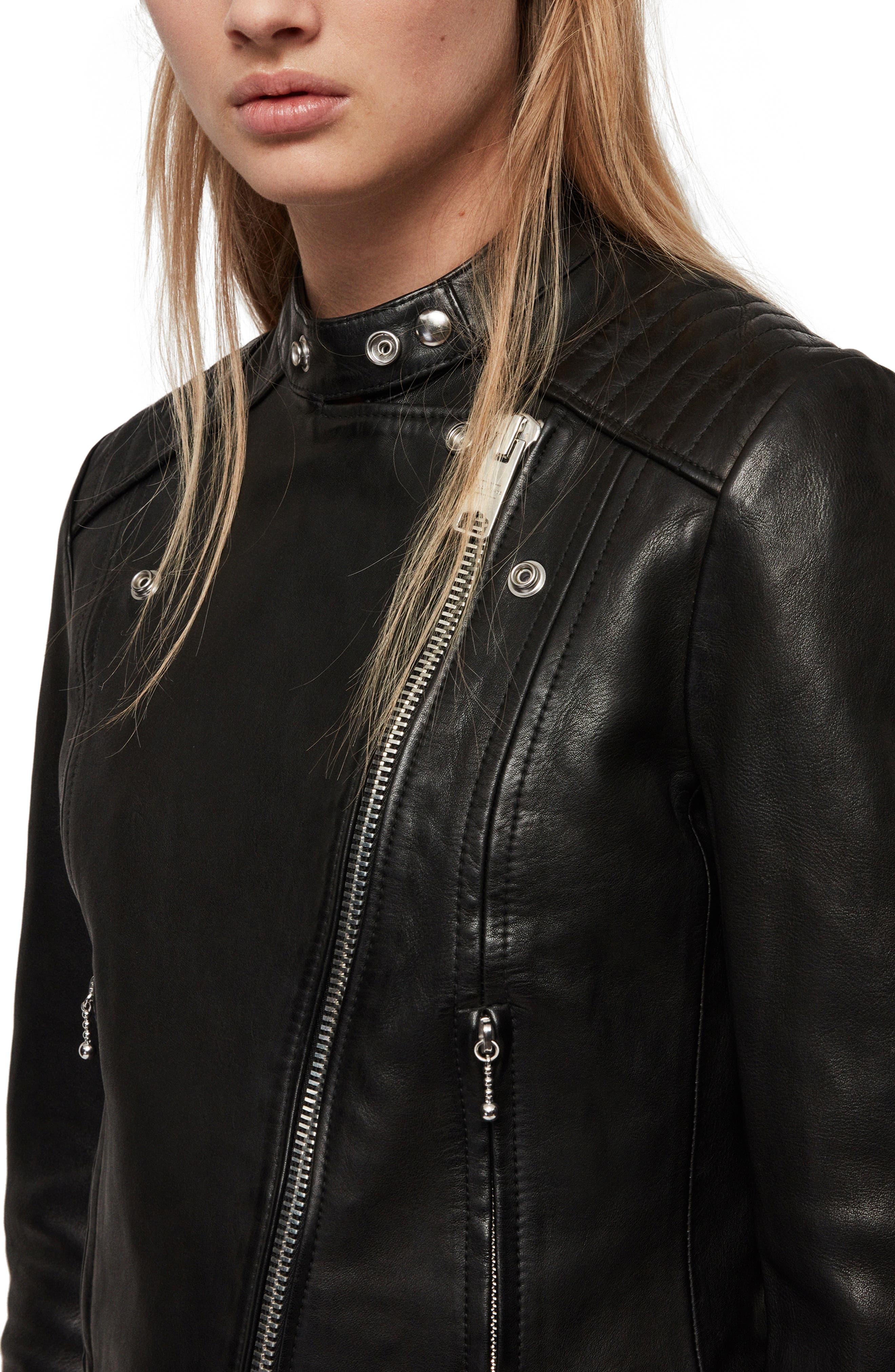 ALLSAINTS, Bircham Leather Biker Jacket, Alternate thumbnail 5, color, BLACK