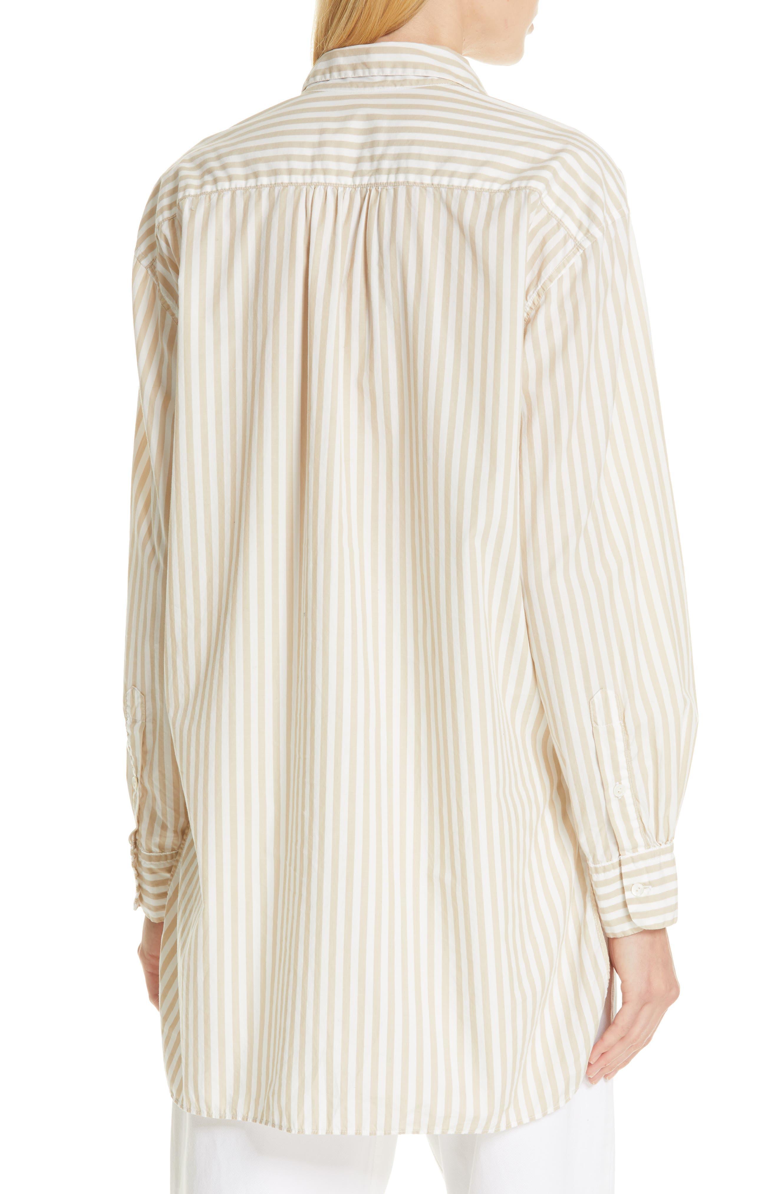 NILI LOTAN, Noa Stripe Shirt, Alternate thumbnail 2, color, TAN STRIPE
