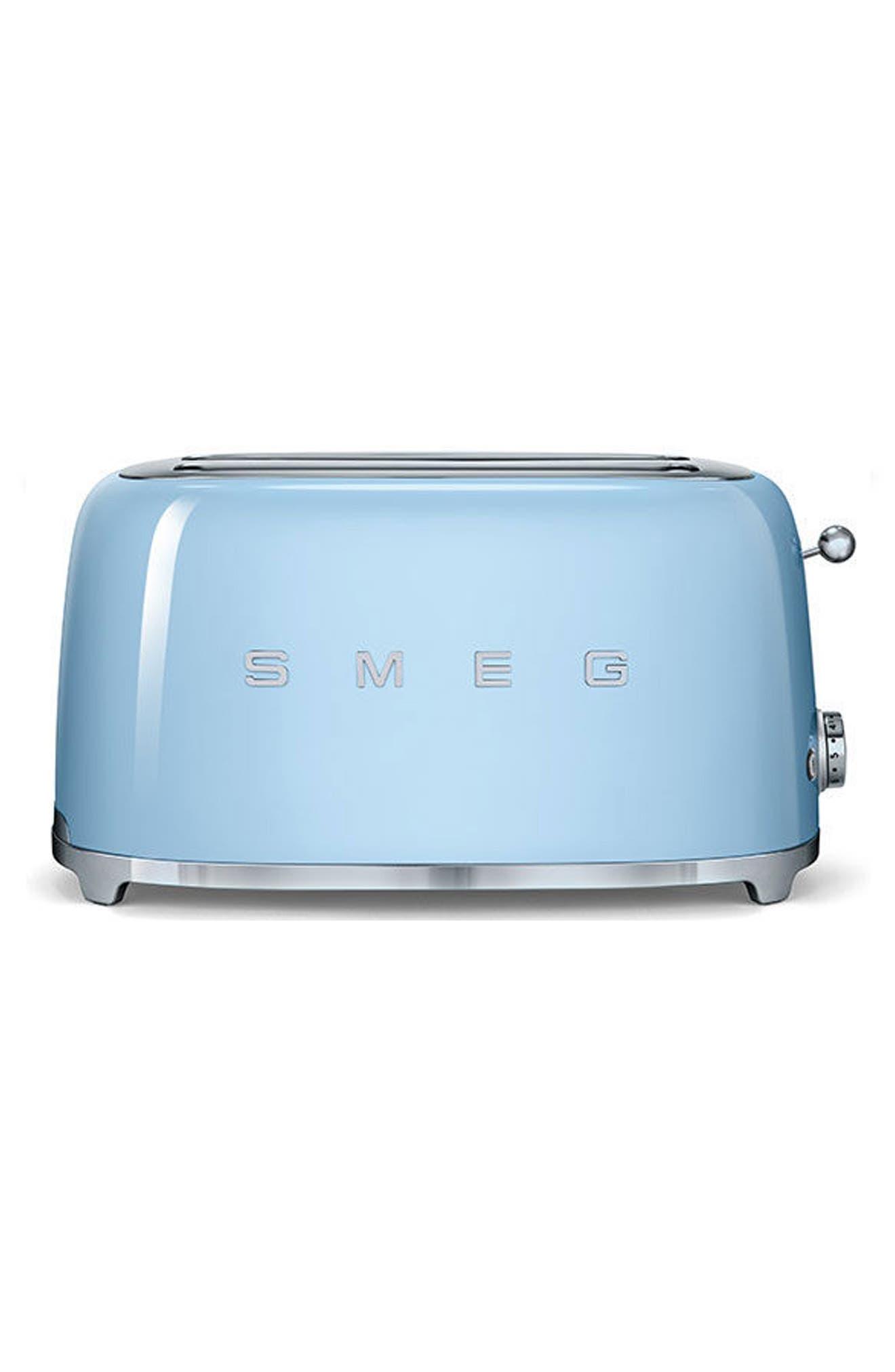SMEG 50s Retro Style Four-Slice Toaster, Main, color, PASTEL BLUE