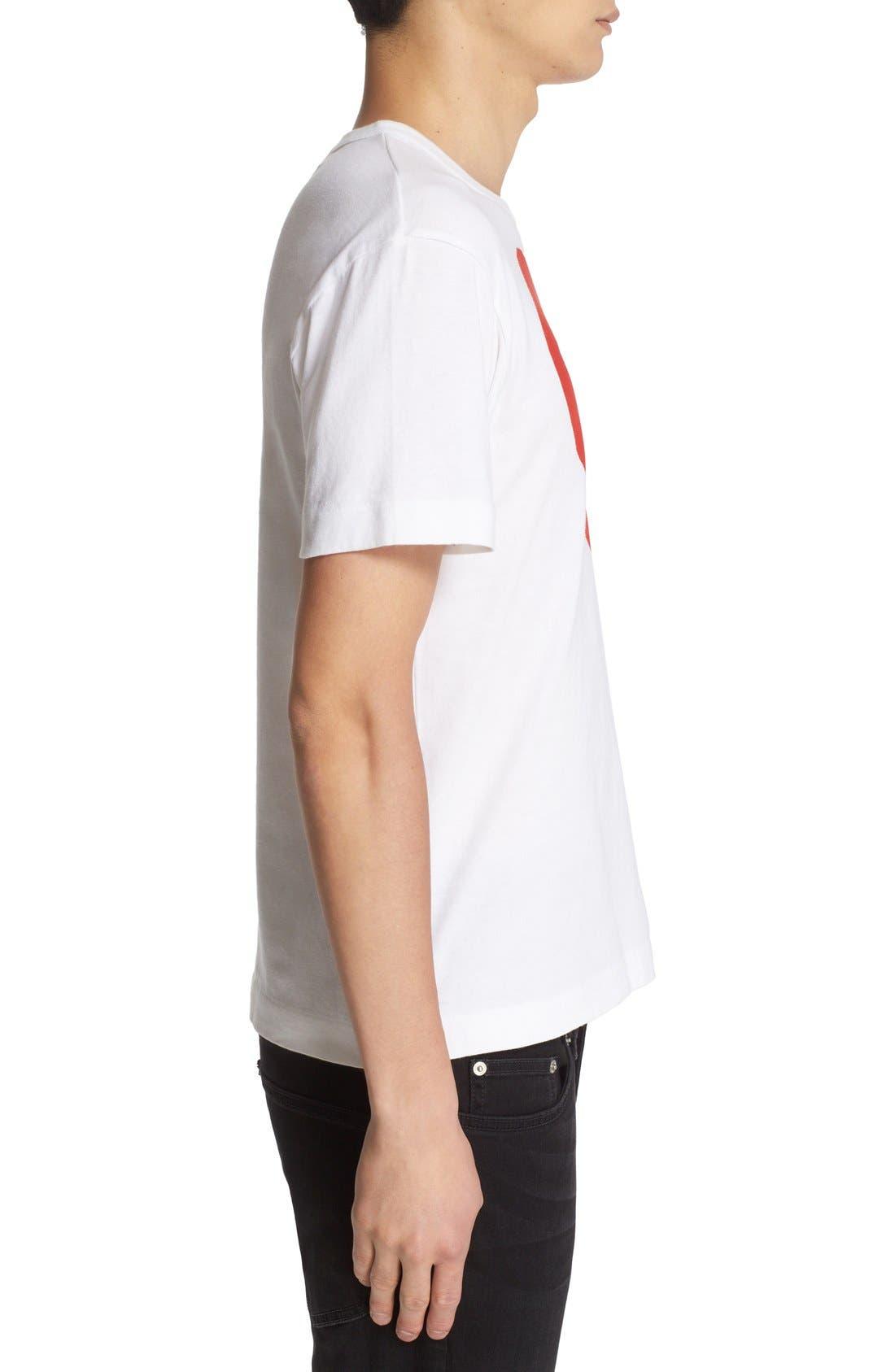 COMME DES GARÇONS PLAY, Heart Face Graphic T-Shirt, Alternate thumbnail 2, color, WHITE