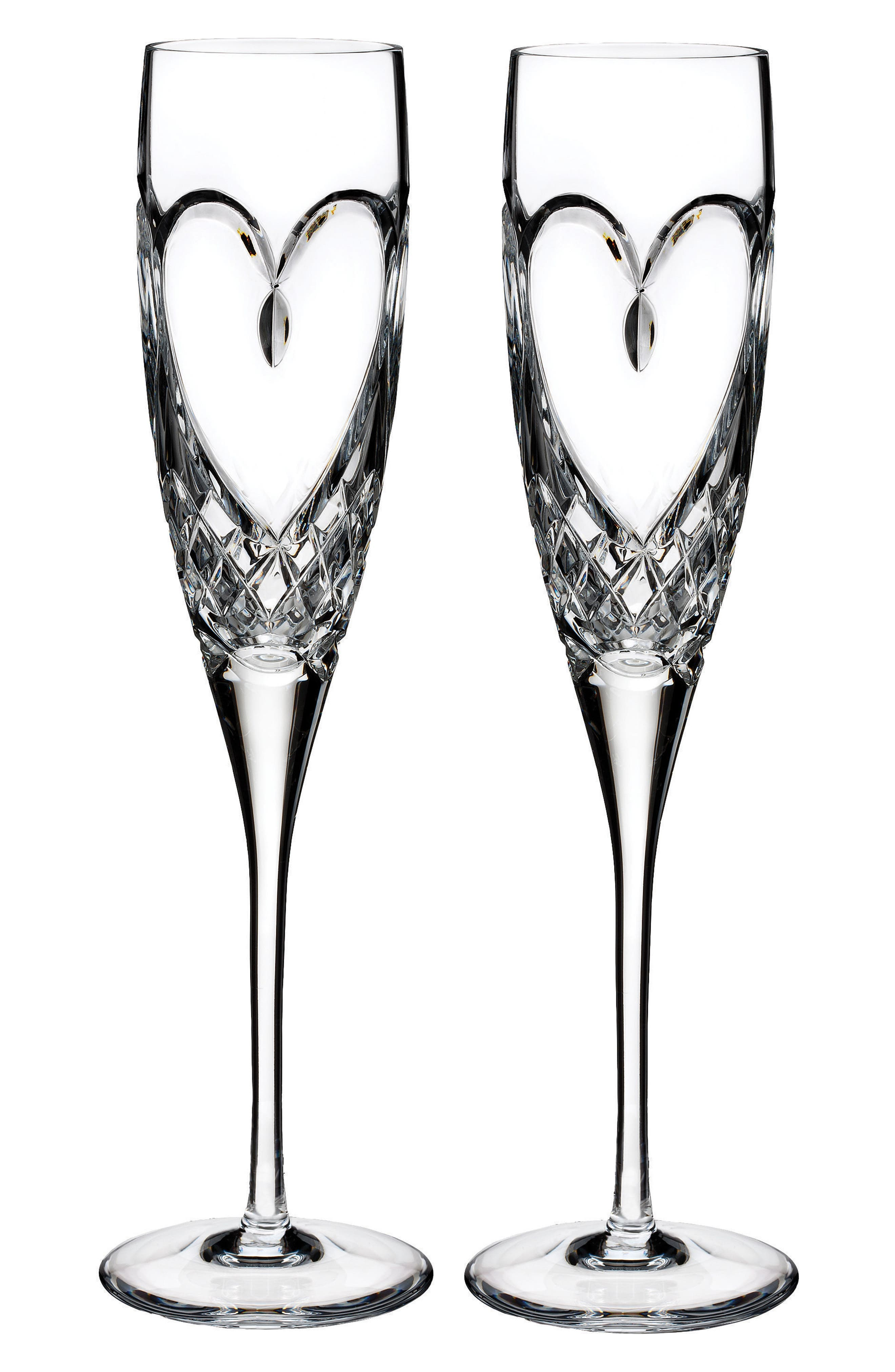 WATERFORD, 'True Love' Lead Crystal Champagne Flutes, Alternate thumbnail 2, color, CLEAR