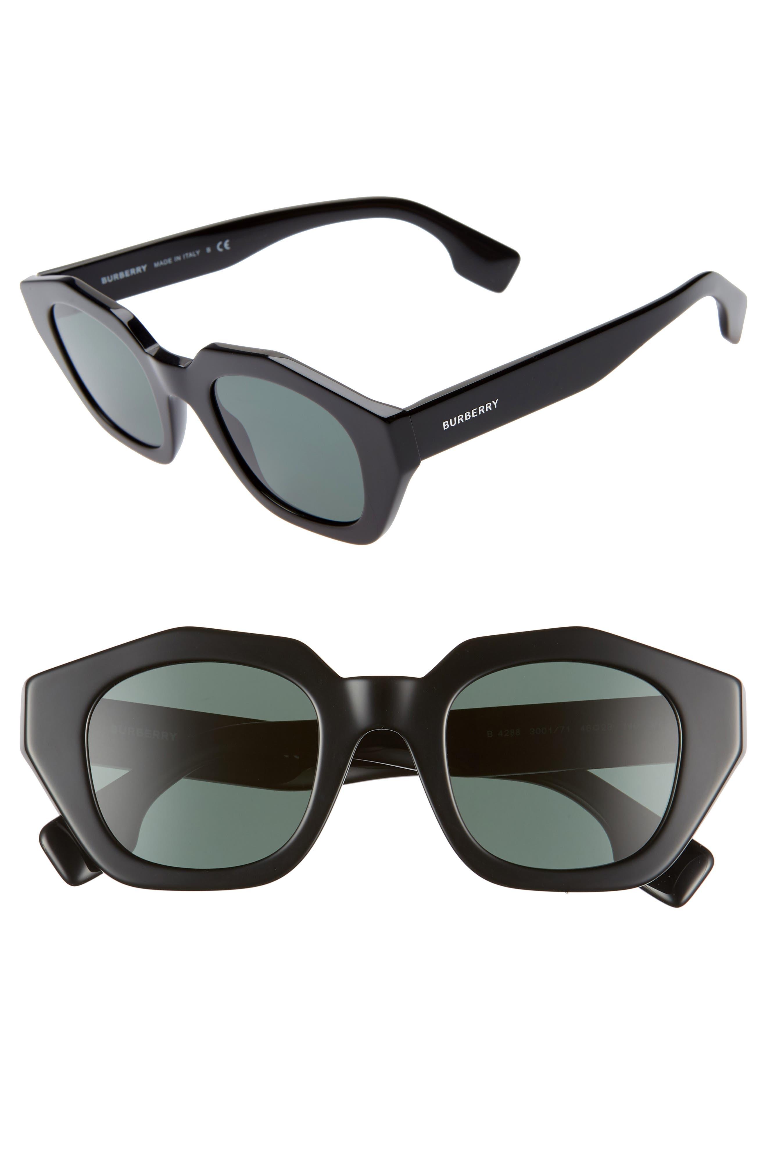 BURBERRY, 46mm Geometric Sunglasses, Main thumbnail 1, color, BLACK