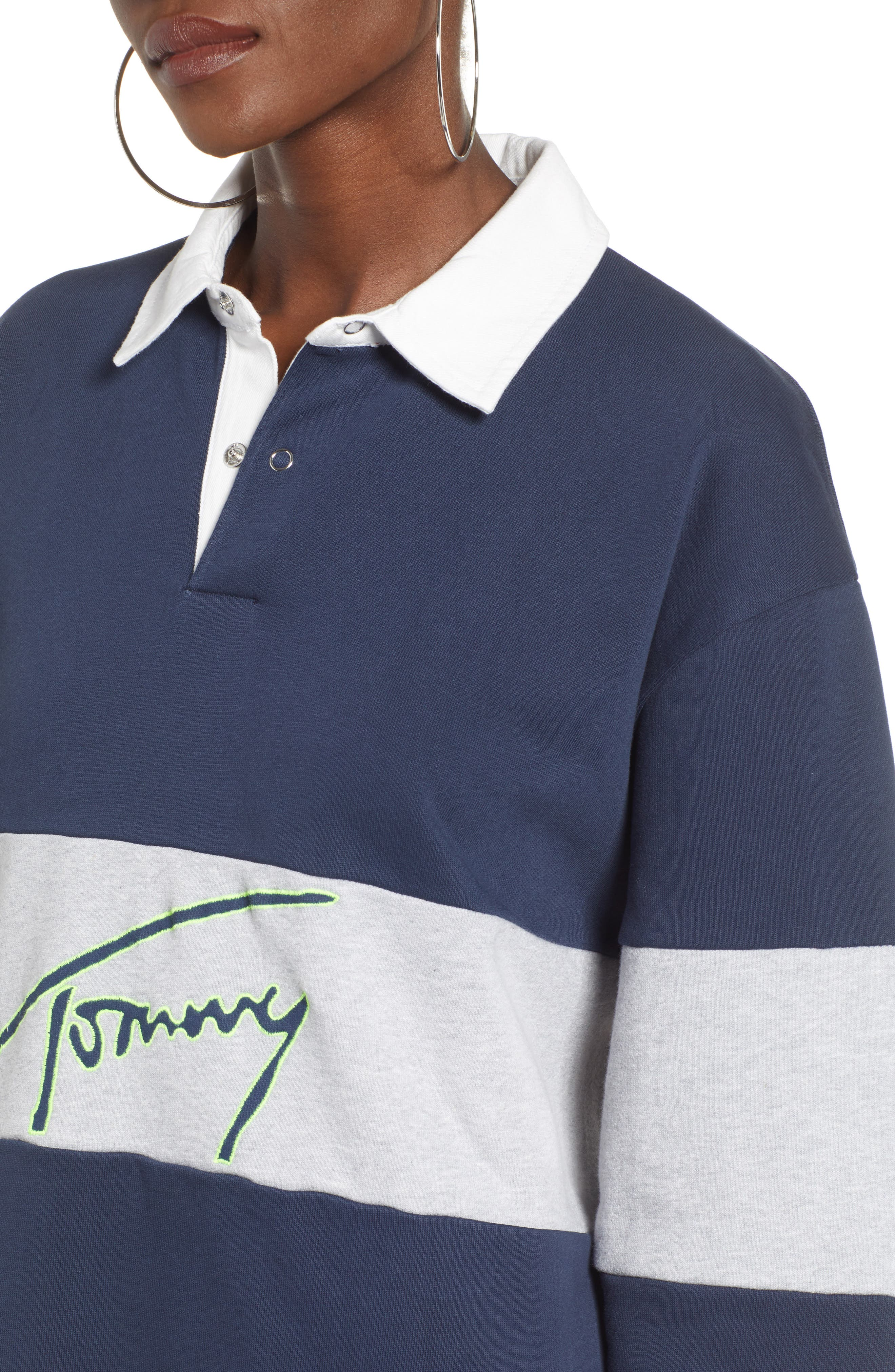 TOMMY JEANS, Logo Rugby Dress, Alternate thumbnail 5, color, 400