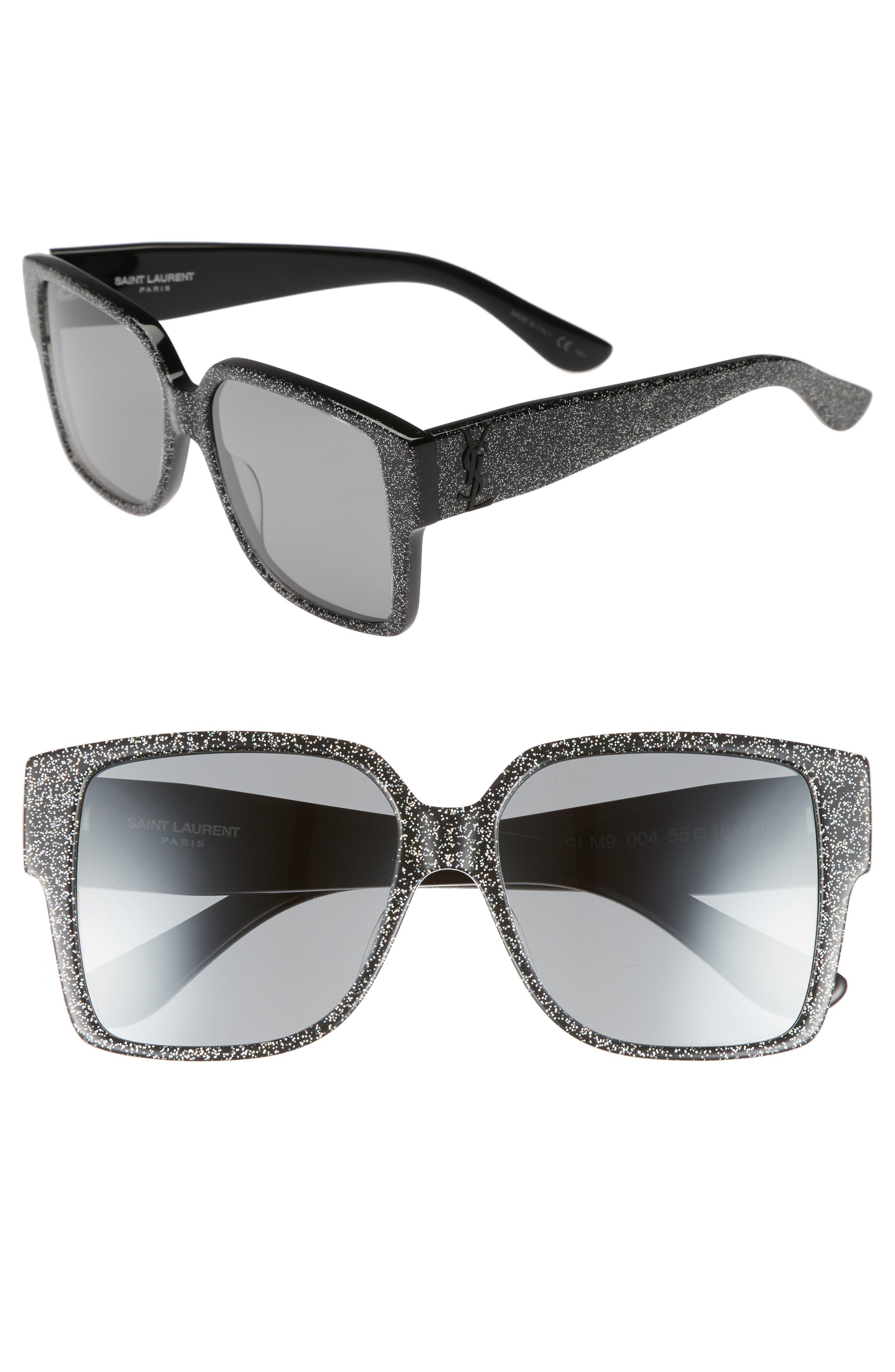 SAINT LAURENT, 55mm Square Sunglasses, Main thumbnail 1, color, MULTI/ SILVER