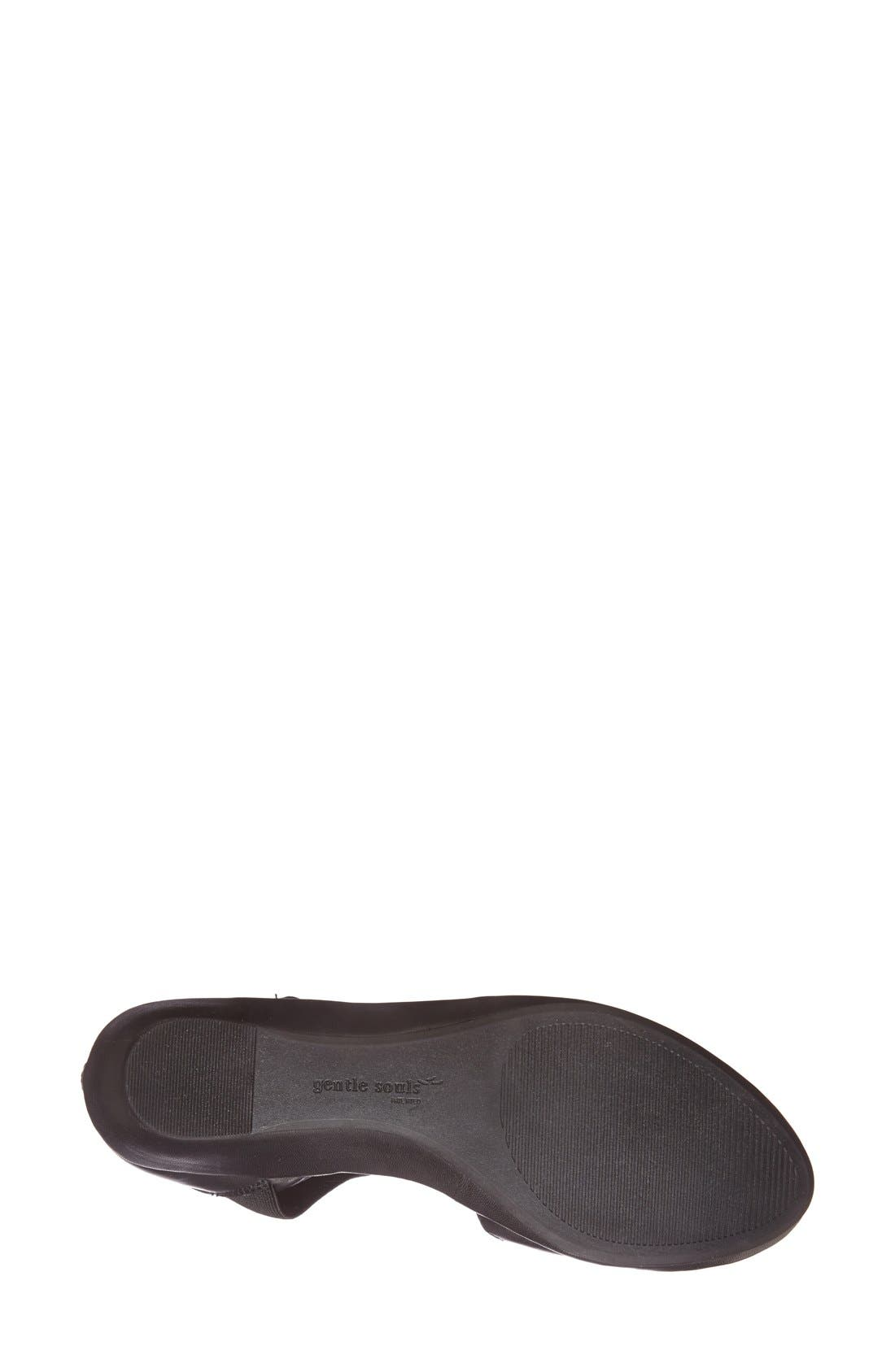 GENTLE SOULS BY KENNETH COLE, 'Noa' Elastic Strap d'Orsay Sandal, Alternate thumbnail 4, color, BLACK