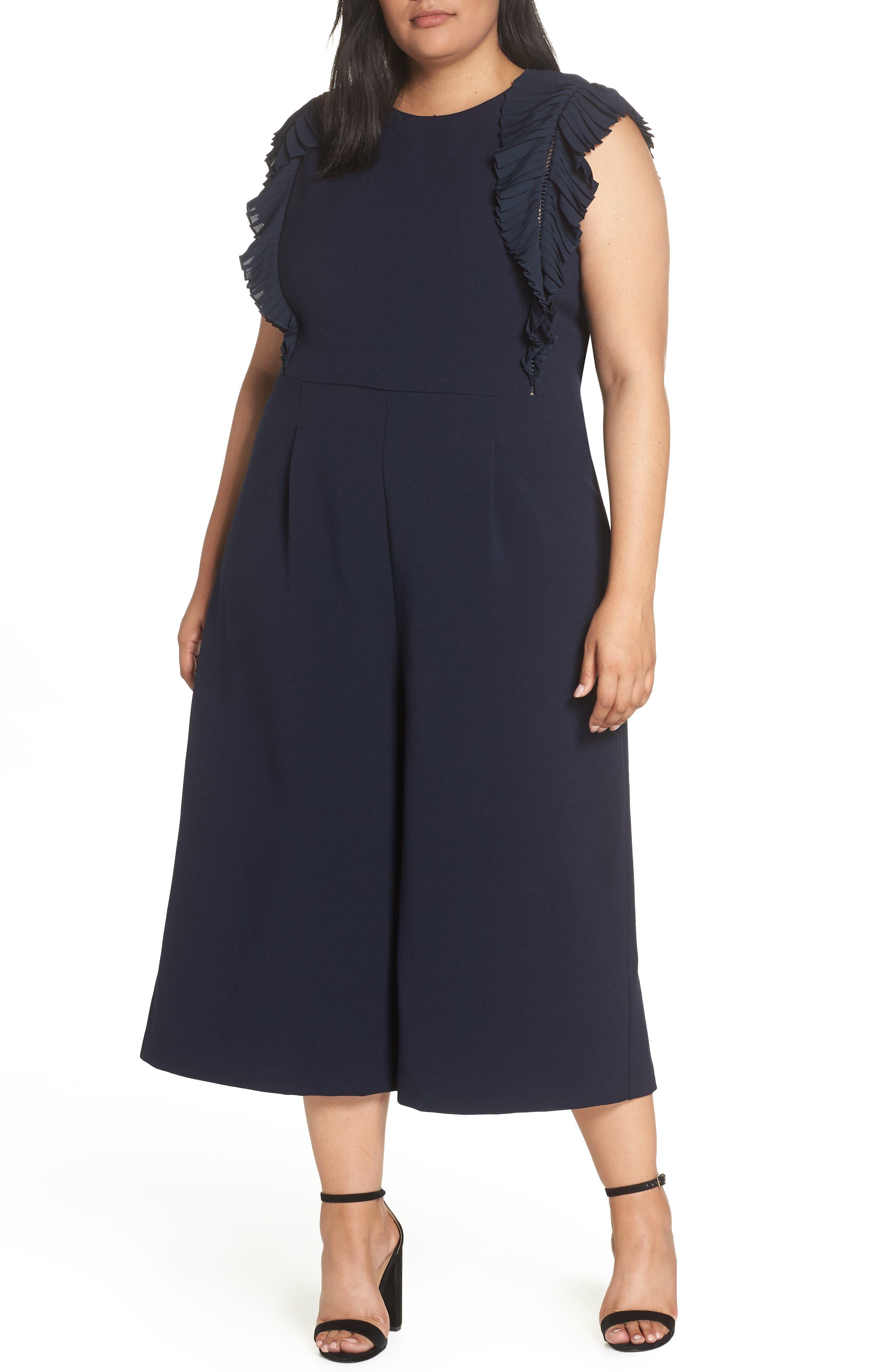 CHELSEA28, Pleat Shoulder Crop Jumpsuit, Main thumbnail 1, color, 401