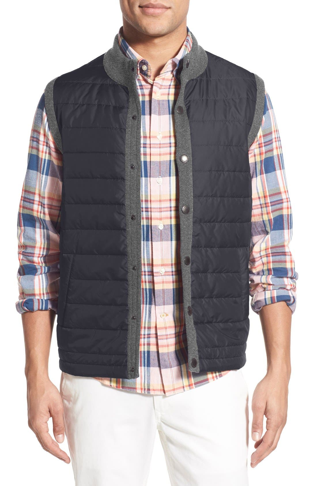 BARBOUR, 'Essential' Tailored Fit Mixed Media Vest, Main thumbnail 1, color, MID GREY