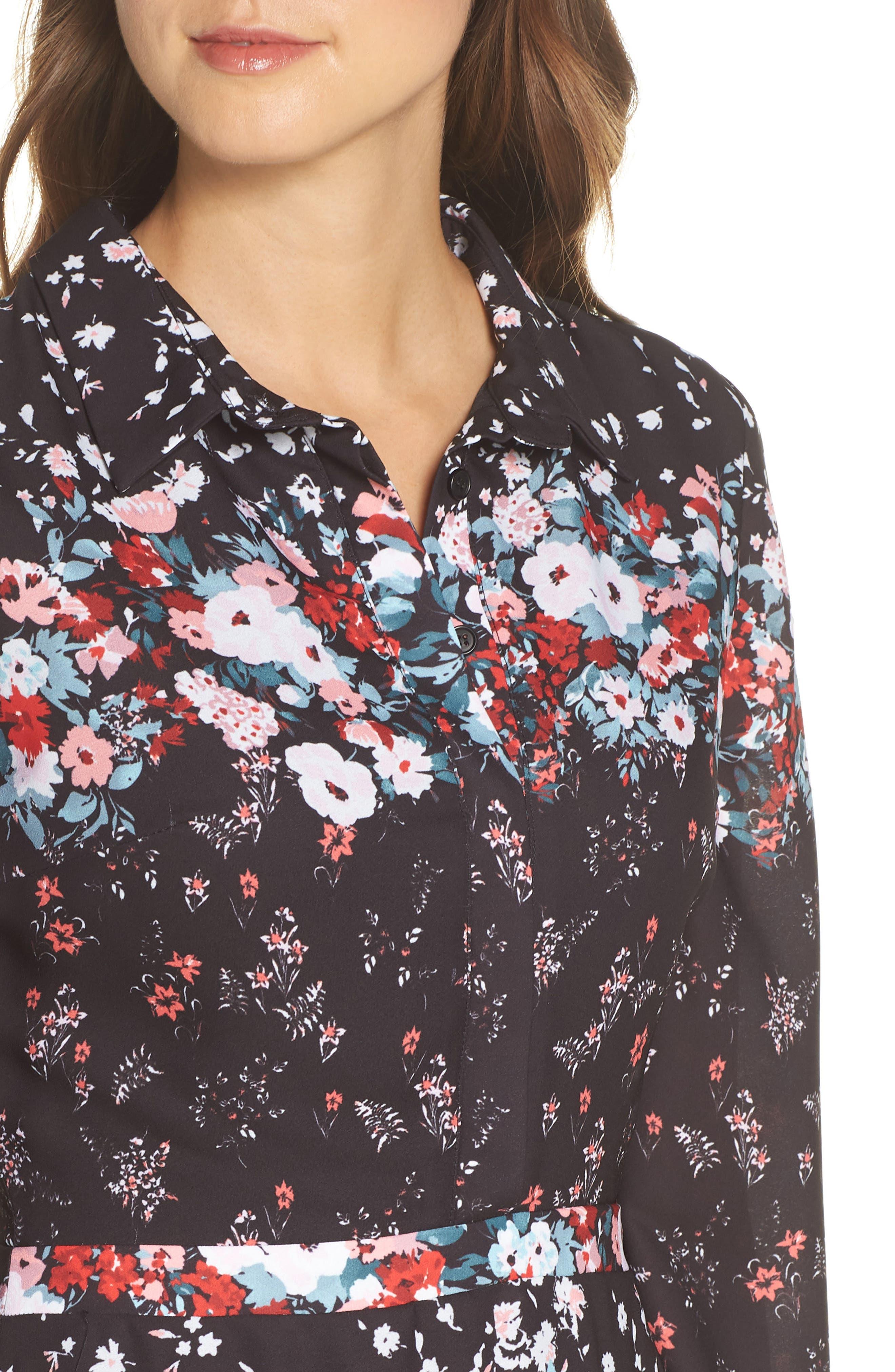 JULIA JORDAN, Floral Print Shirtdress, Alternate thumbnail 5, color, 017