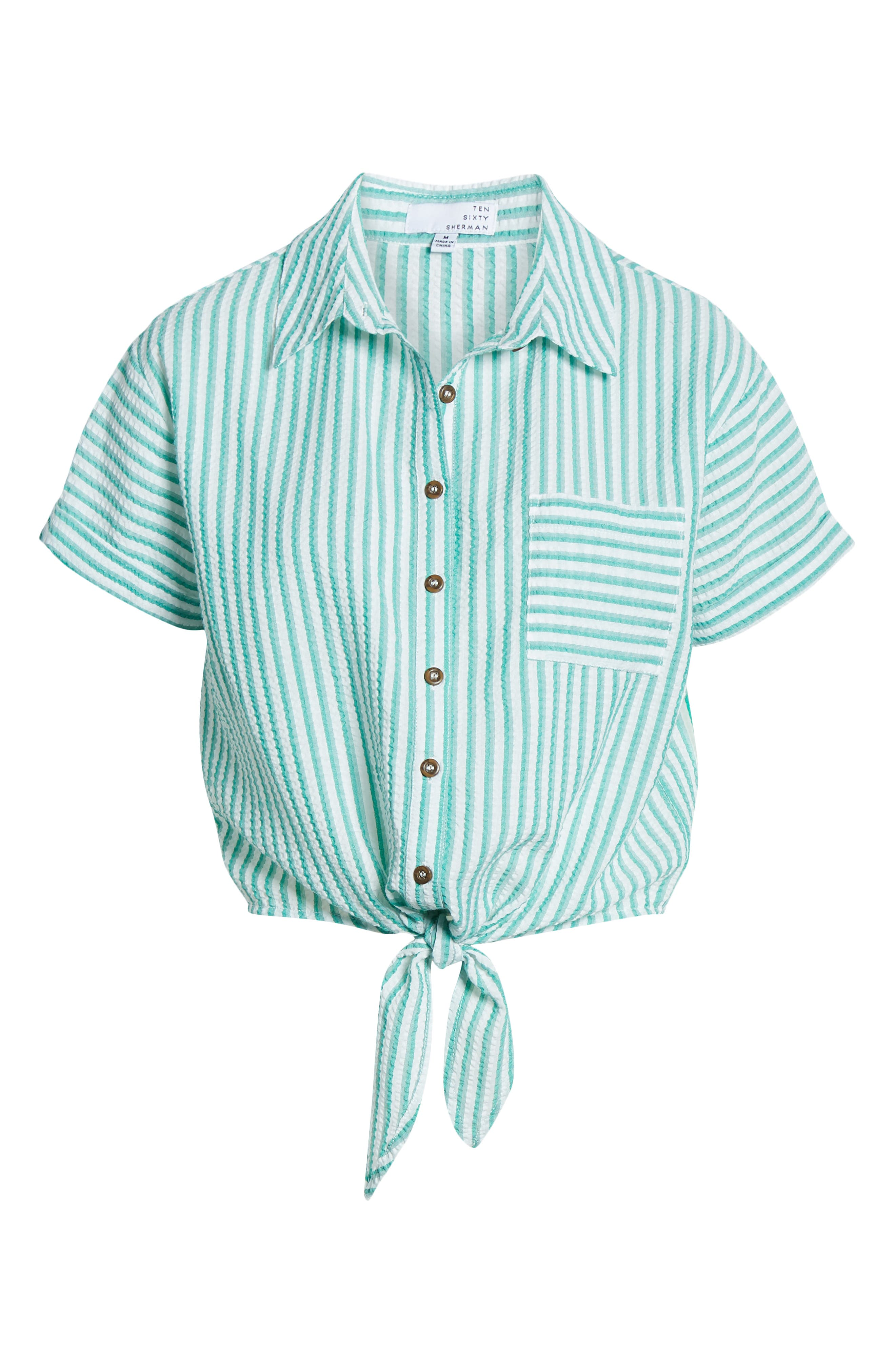 TEN SIXTY SHERMAN, Tie Front Seersucker Shirt, Alternate thumbnail 6, color, GREEN WING