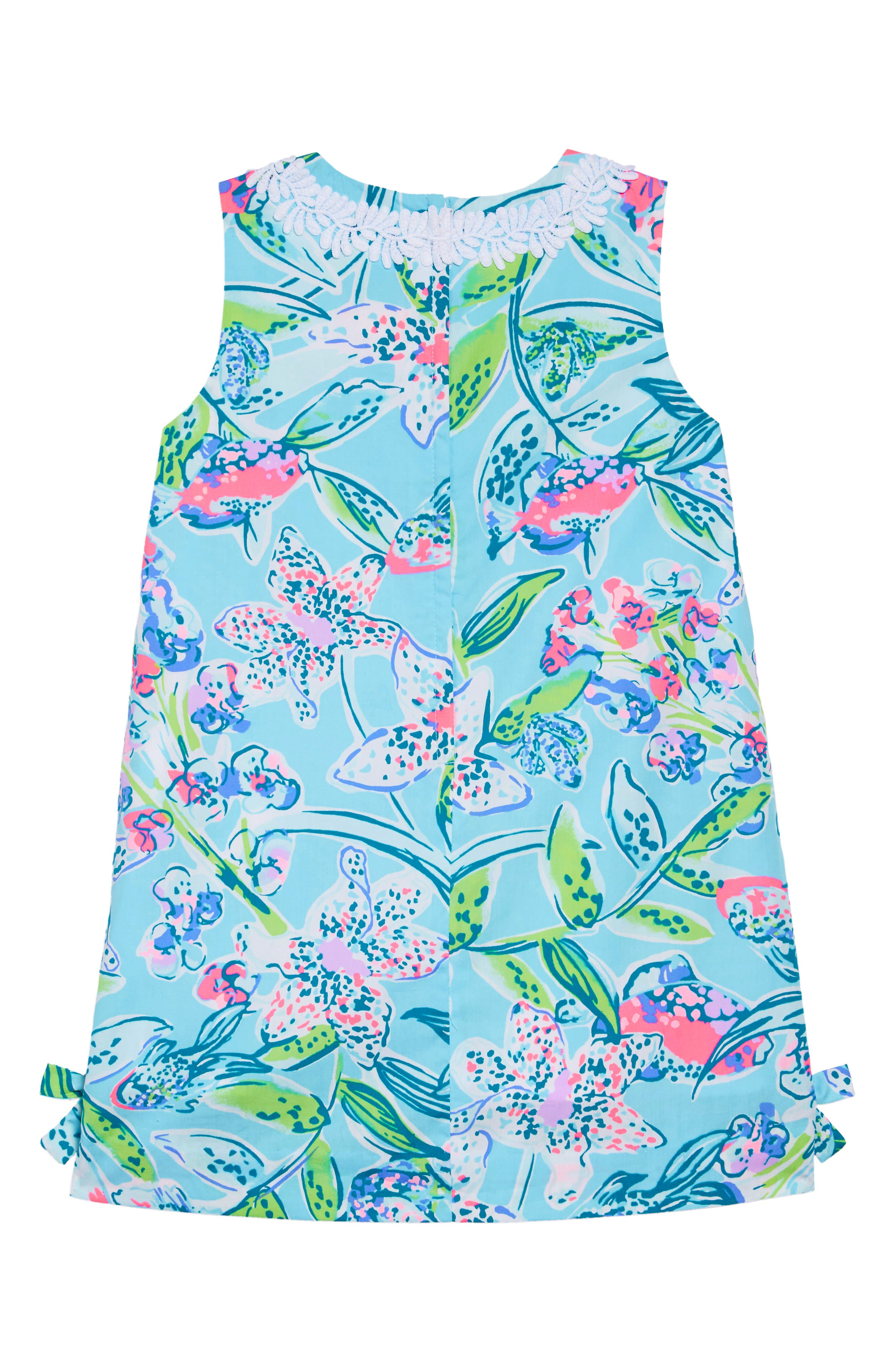 LILLY PULITZER<SUP>®</SUP>, Little Lilly Classic Shift Dress, Alternate thumbnail 2, color, BALI BLUE SWAY THIS WAY