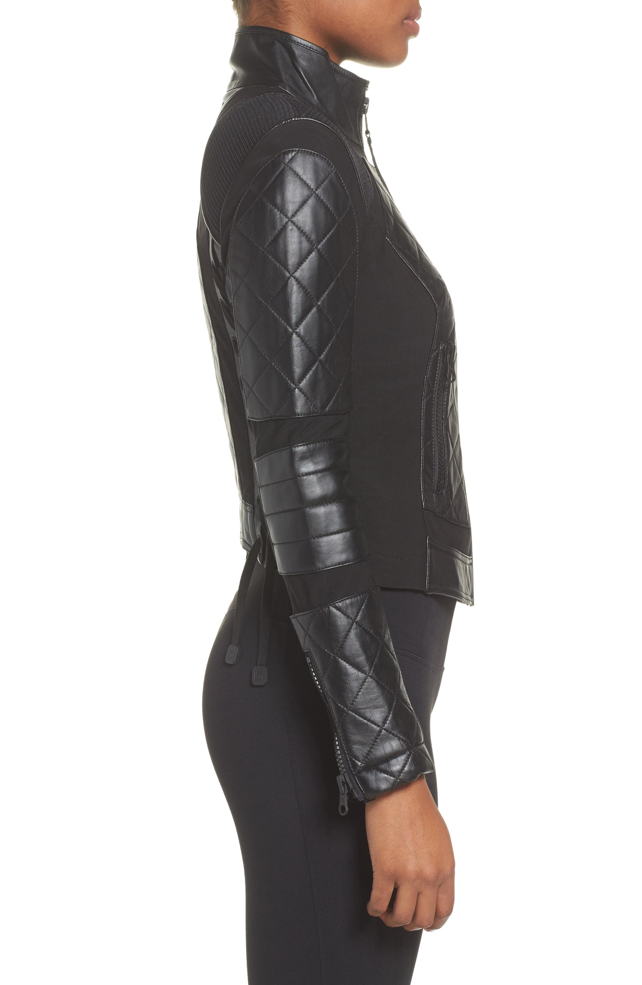 BLANC NOIR, Leather & Mesh Moto Jacket, Alternate thumbnail 4, color, BLACK