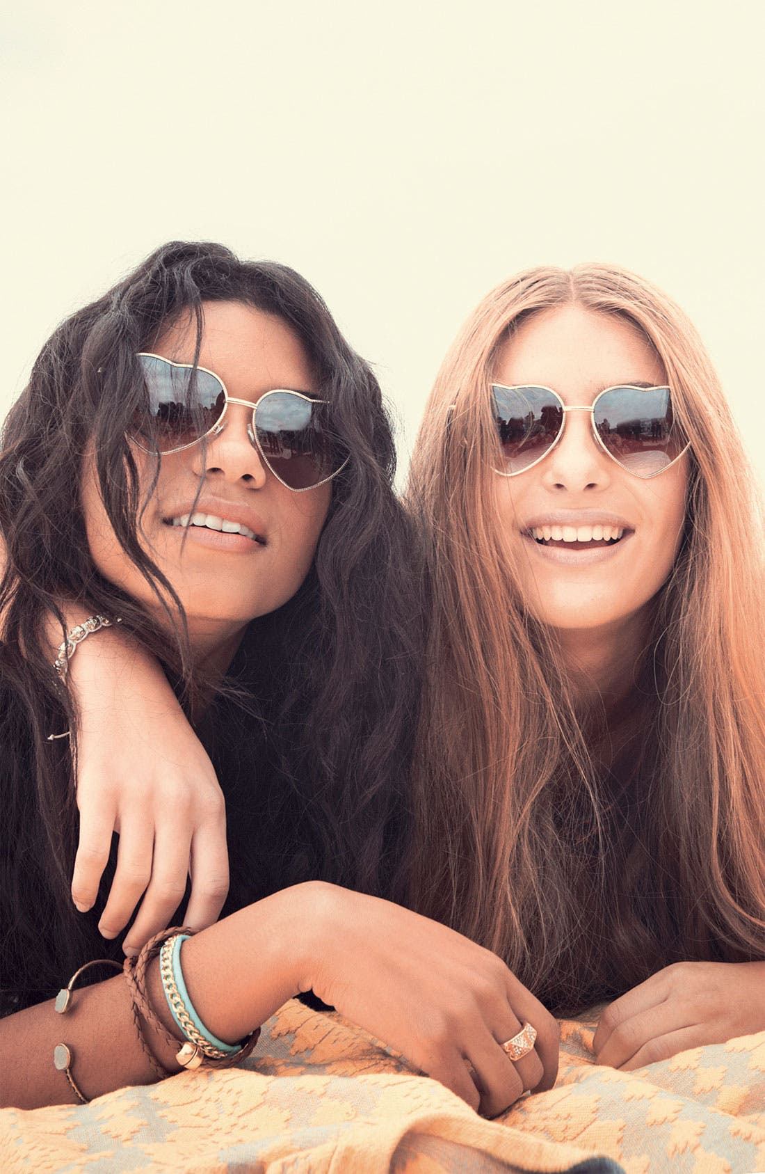 BP., Heart Shaped 58mm Sunglasses, Alternate thumbnail 6, color, GOLD/ BROWN