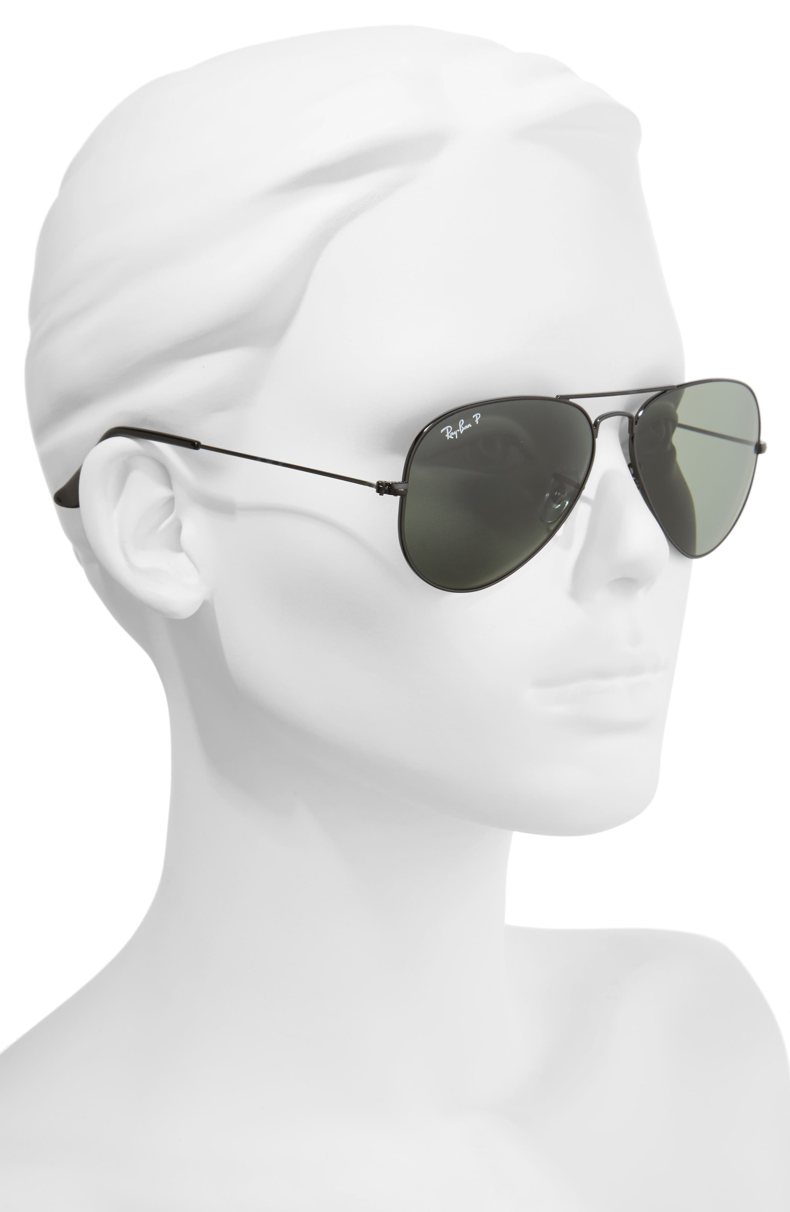 RAY-BAN, Original 58mm Aviator Sunglasses, Alternate thumbnail 2, color, BLACK