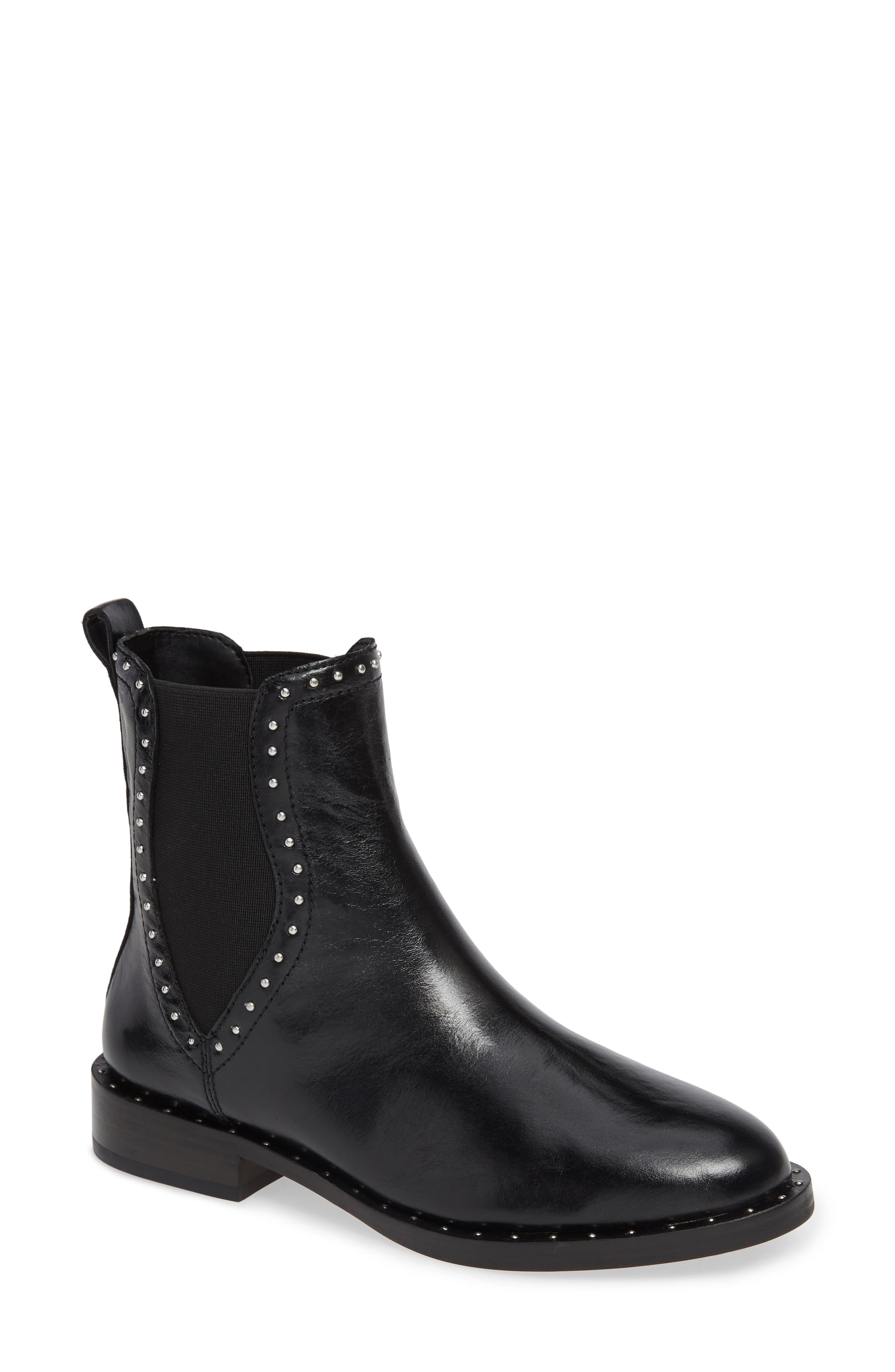 REBECCA MINKOFF, Sabeen Chelsea Bootie, Main thumbnail 1, color, BLACK LEATHER