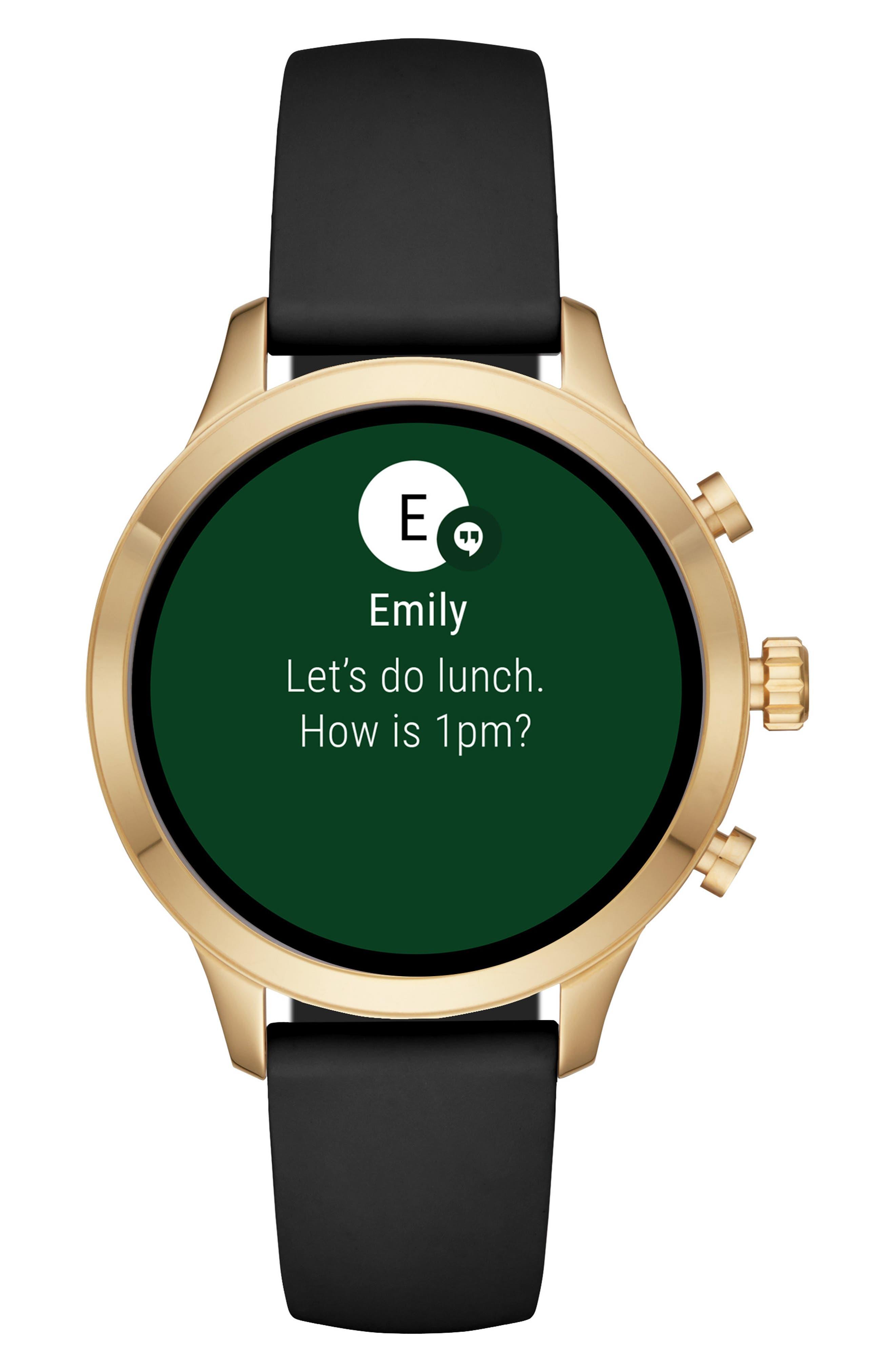 MICHAEL KORS, MICHAEL Michael Kors Access Runway Smart Watch, 41mm, Alternate thumbnail 5, color, BLACK/ GOLD