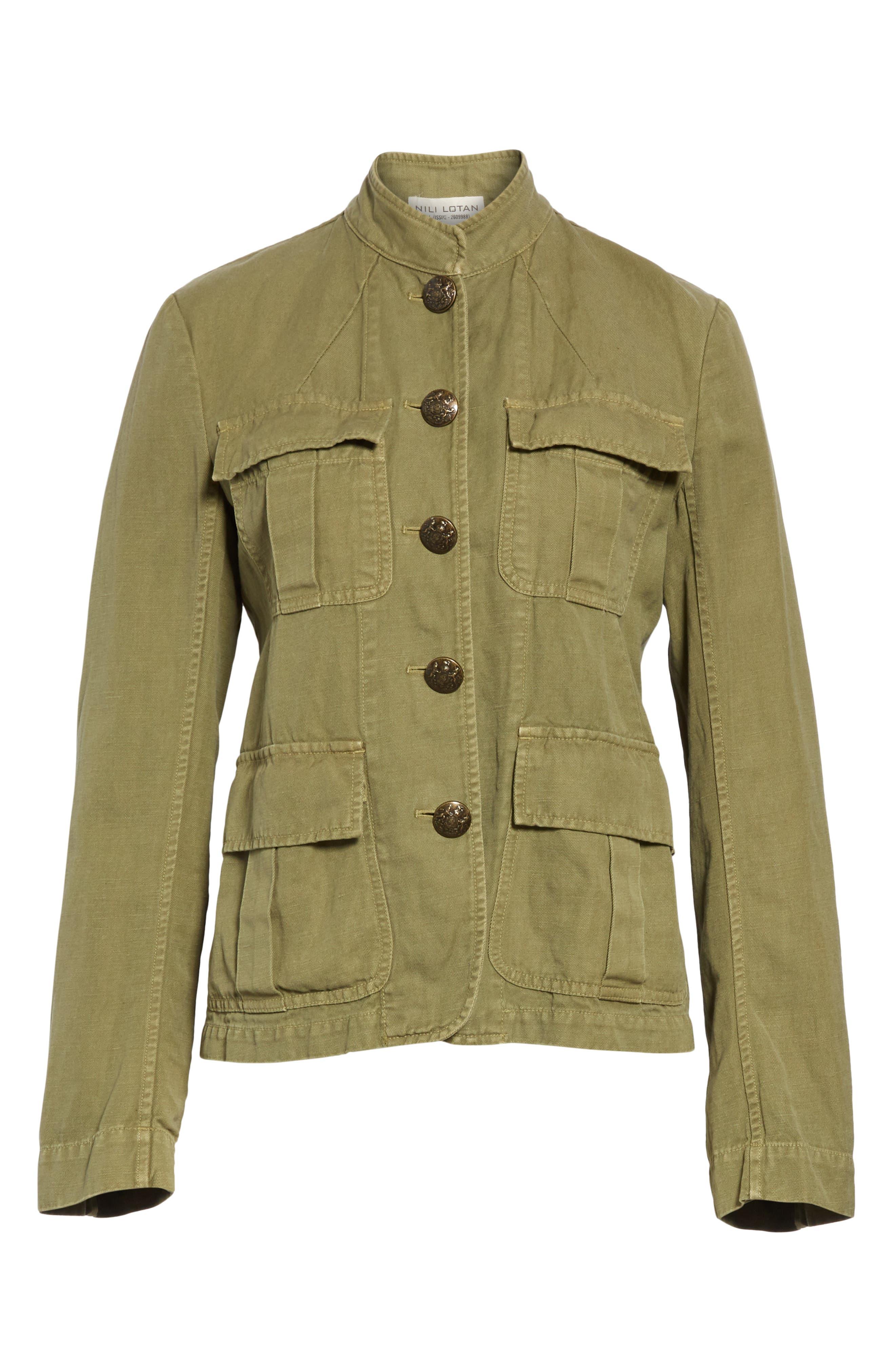 NILI LOTAN, Cambre Jacket, Alternate thumbnail 6, color, UNIFORM GREEN