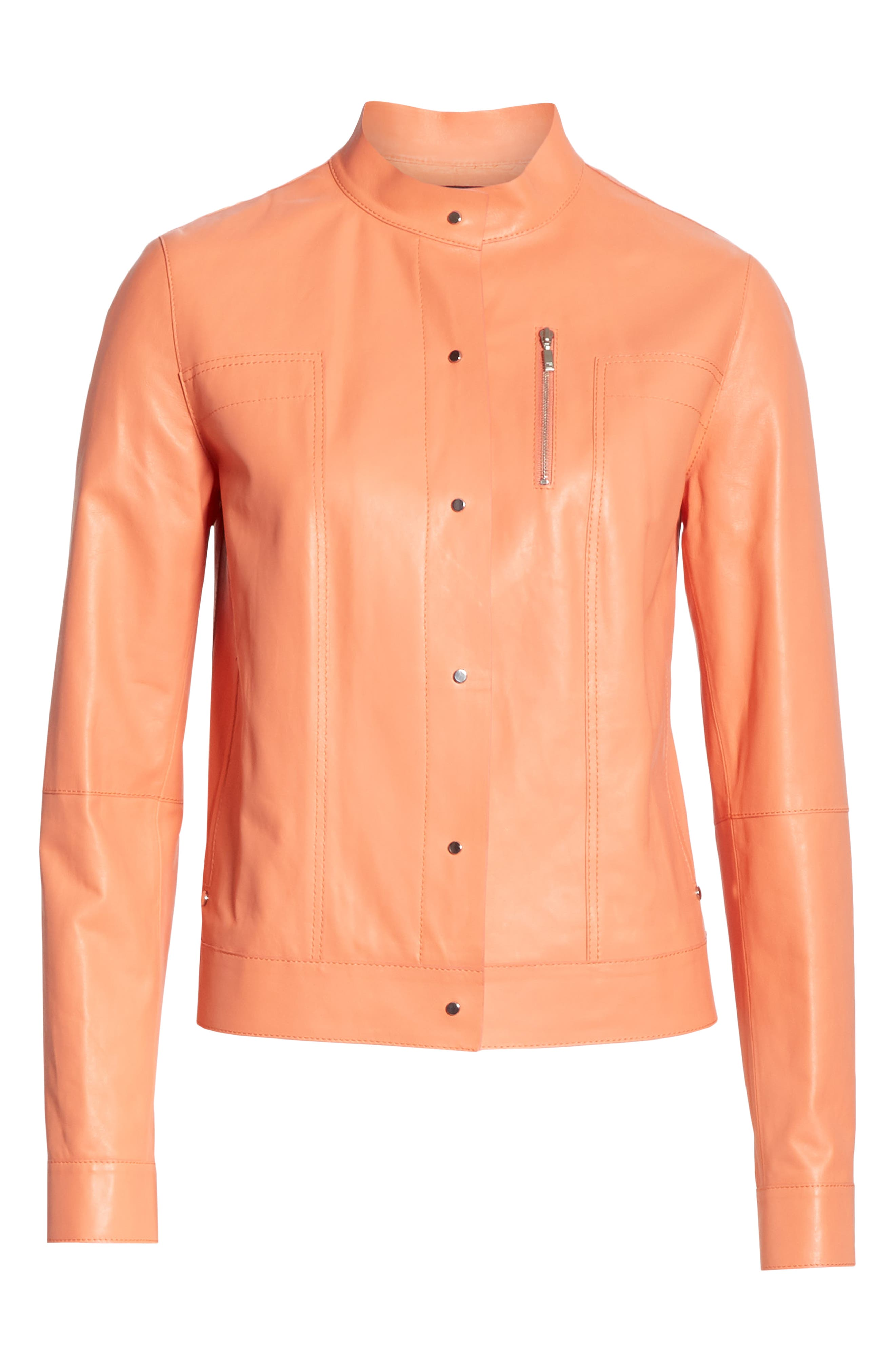 LAFAYETTE 148 NEW YORK, Galicia Leather Jacket, Alternate thumbnail 5, color, PEACH ROSE