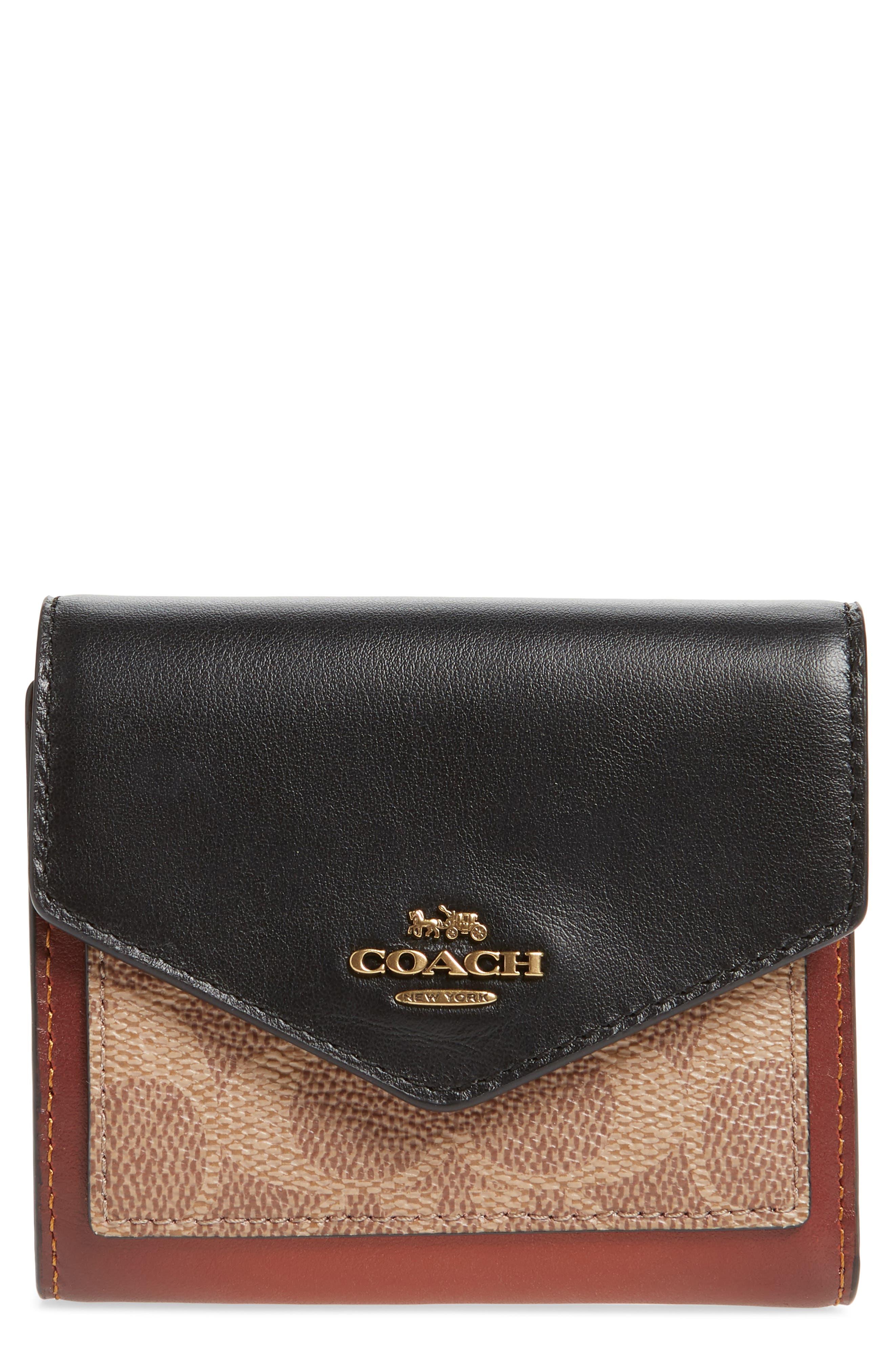 COACH Leather & Signature Canvas Trifold Wallet, Main, color, TAN BLACK