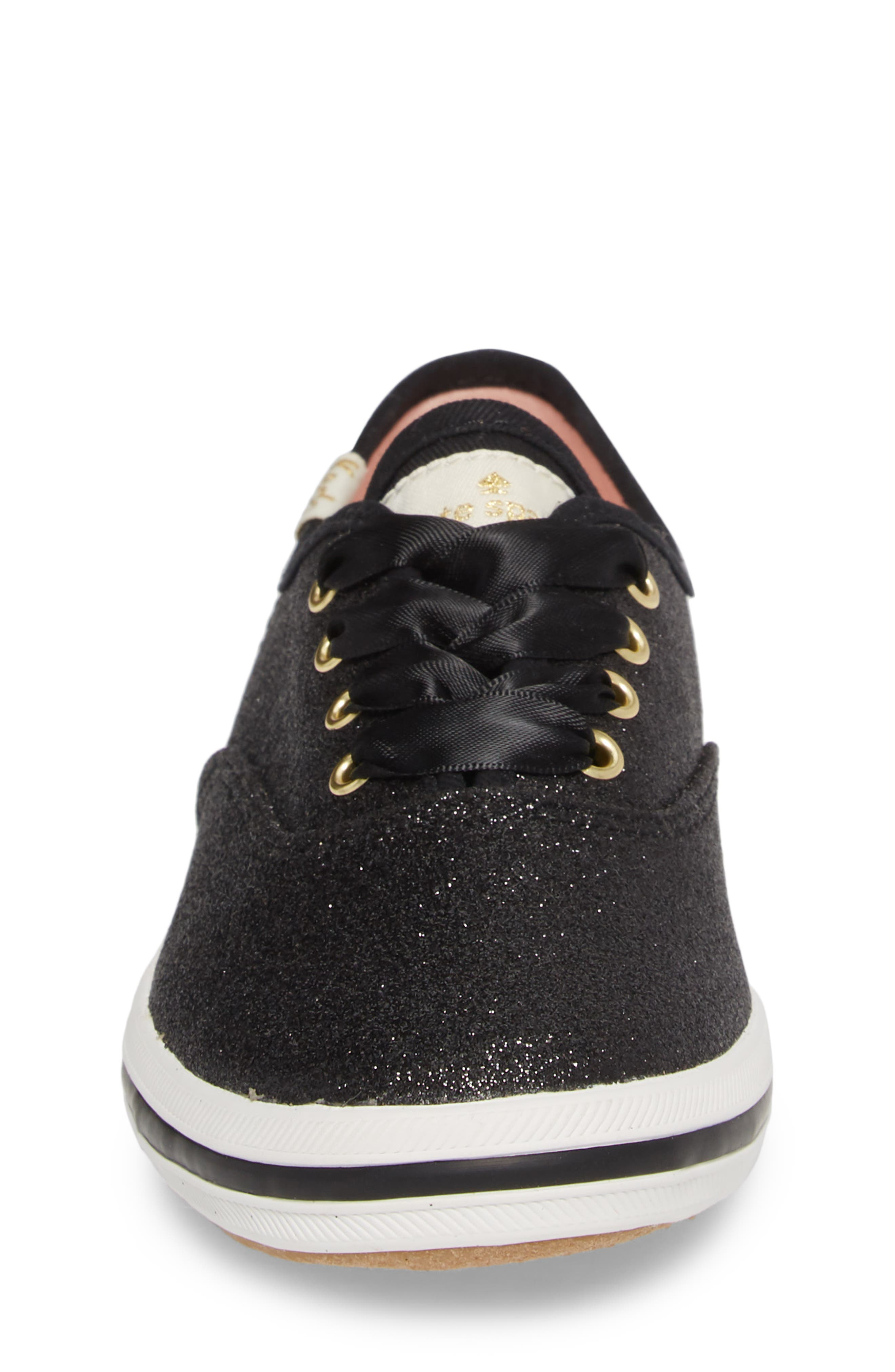 KEDS<SUP>®</SUP>, x kate spade new york Champion Glitter Sneaker, Alternate thumbnail 4, color, BLACK