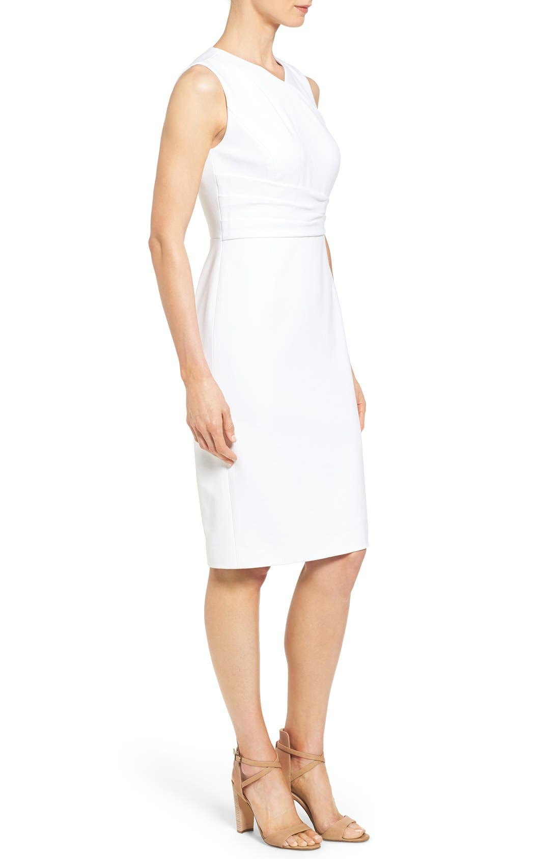 CLASSIQUES ENTIER<SUP>®</SUP>, Pleat Waist Sleeveless Ponte Sheath Dress, Alternate thumbnail 4, color, 100