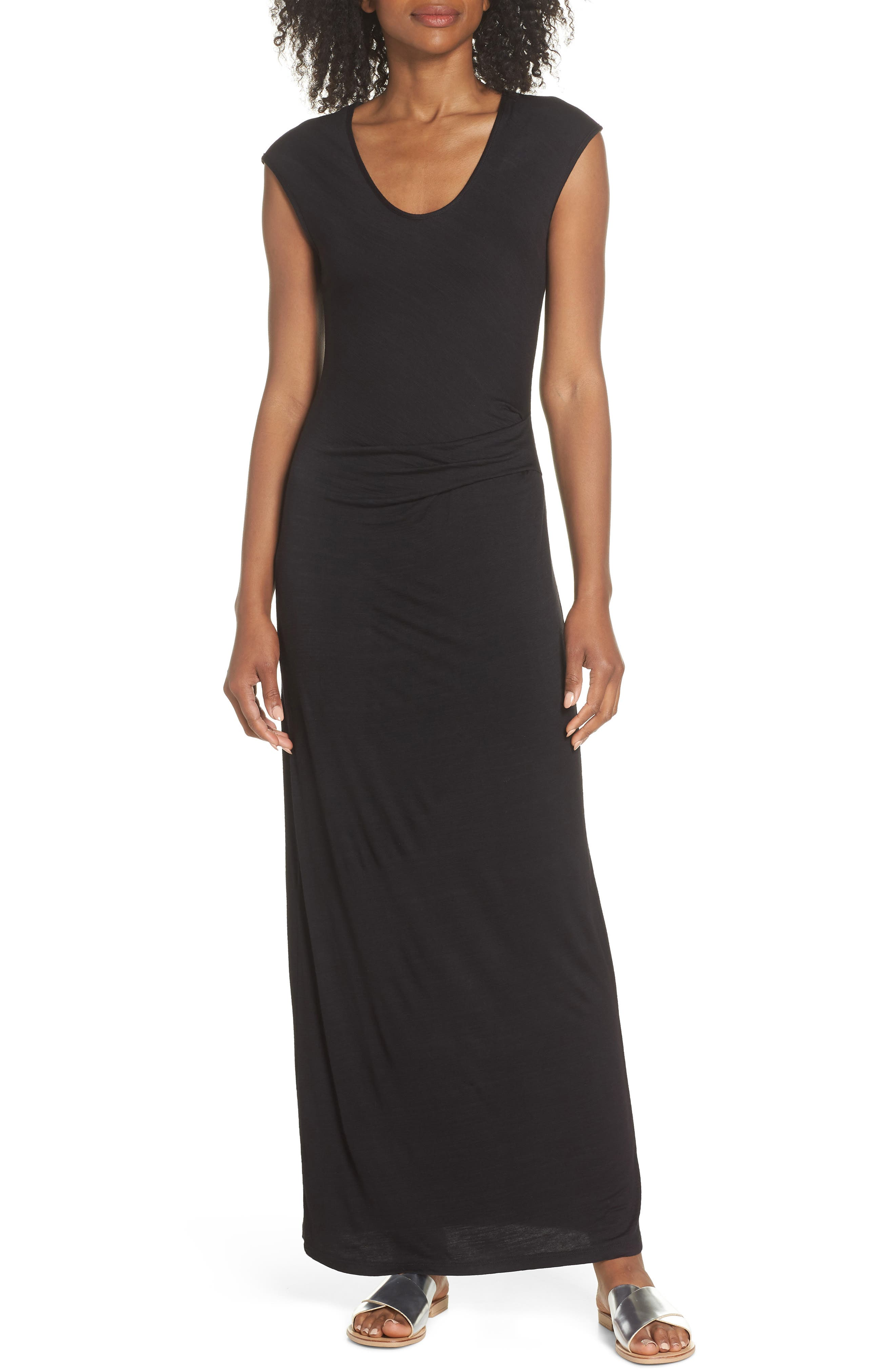 FRAICHE BY J, Ruched Jersey Maxi Dress, Main thumbnail 1, color, BLACK