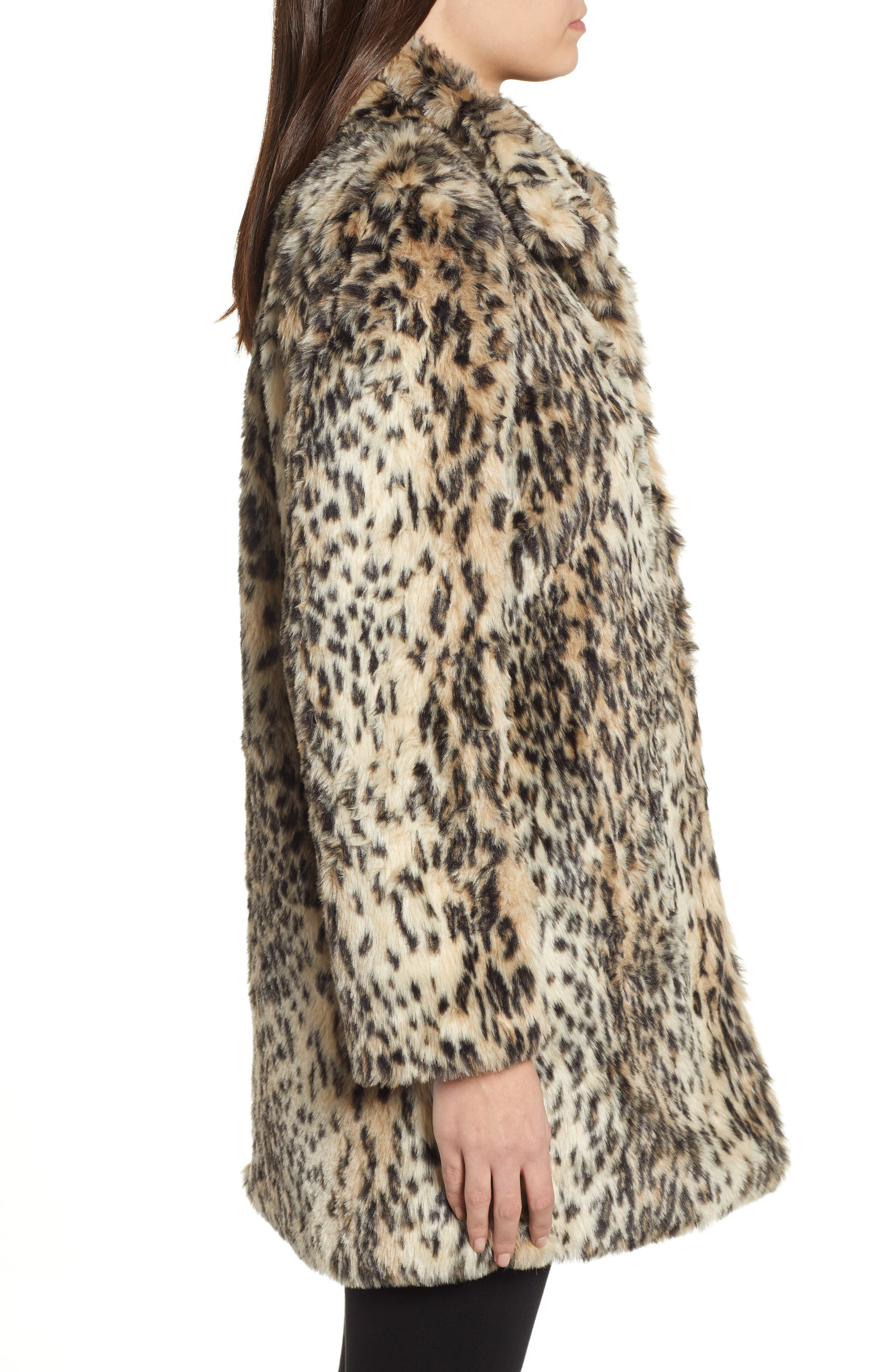 CUPCAKES AND CASHMERE, Leopard Faux Fur Coat, Alternate thumbnail 4, color, 009