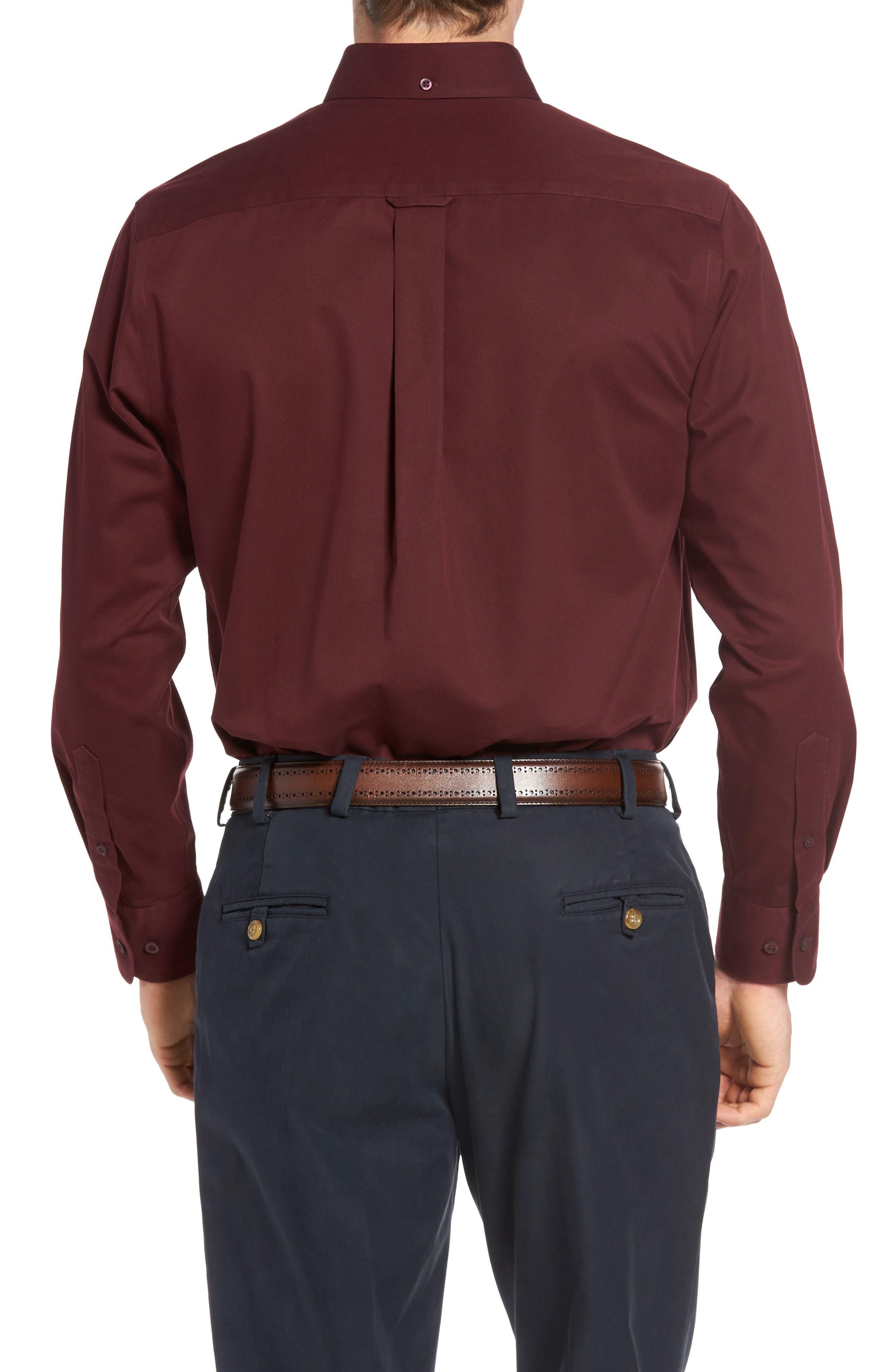 NORDSTROM MEN'S SHOP, Smartcare<sup>™</sup> Traditional Fit Twill Boat Shirt, Alternate thumbnail 2, color, BURGUNDY ROYALE