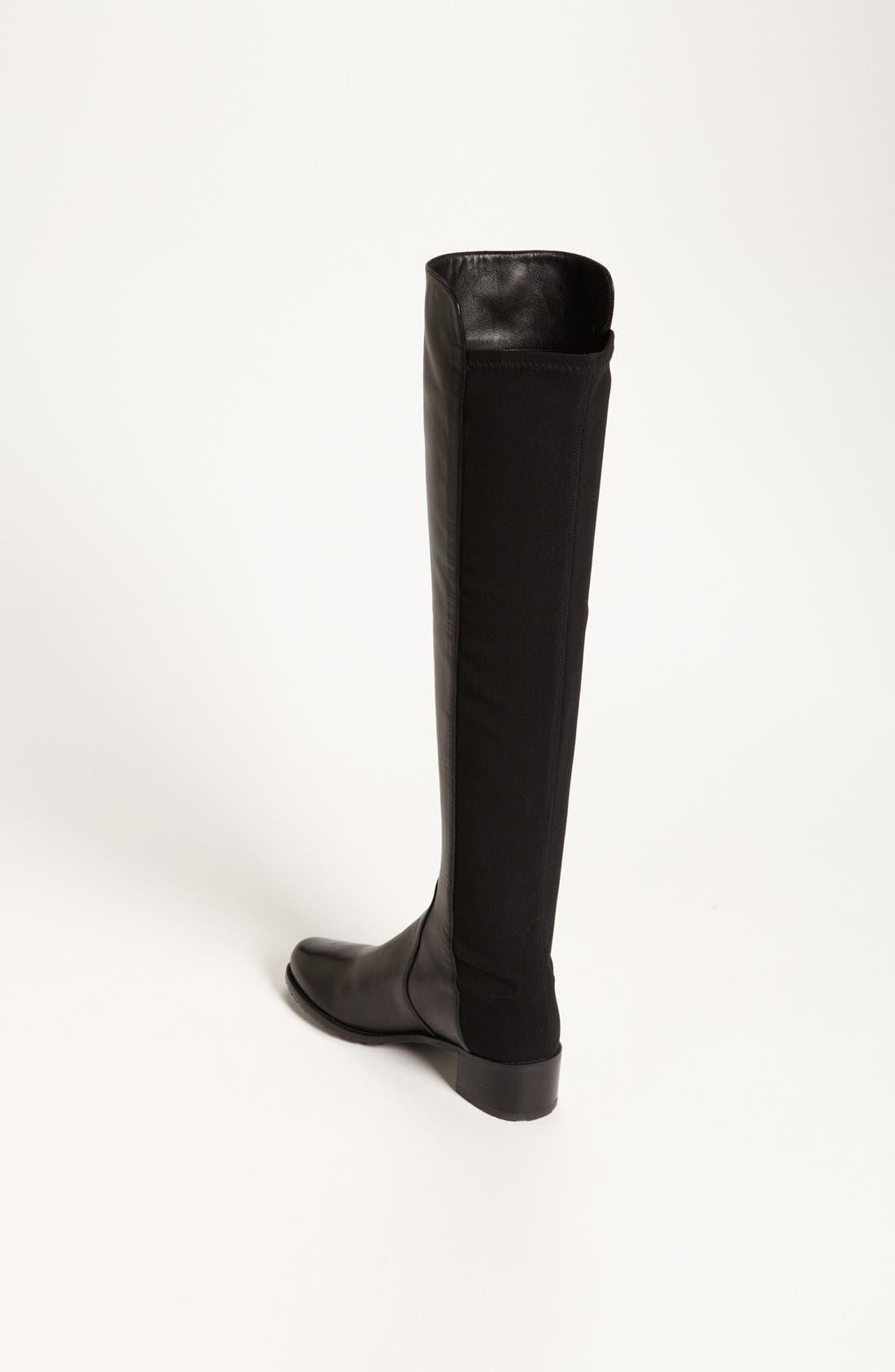 STUART WEITZMAN, 'Reserve' Over the Knee Boot, Alternate thumbnail 7, color, BLACK NAPPA