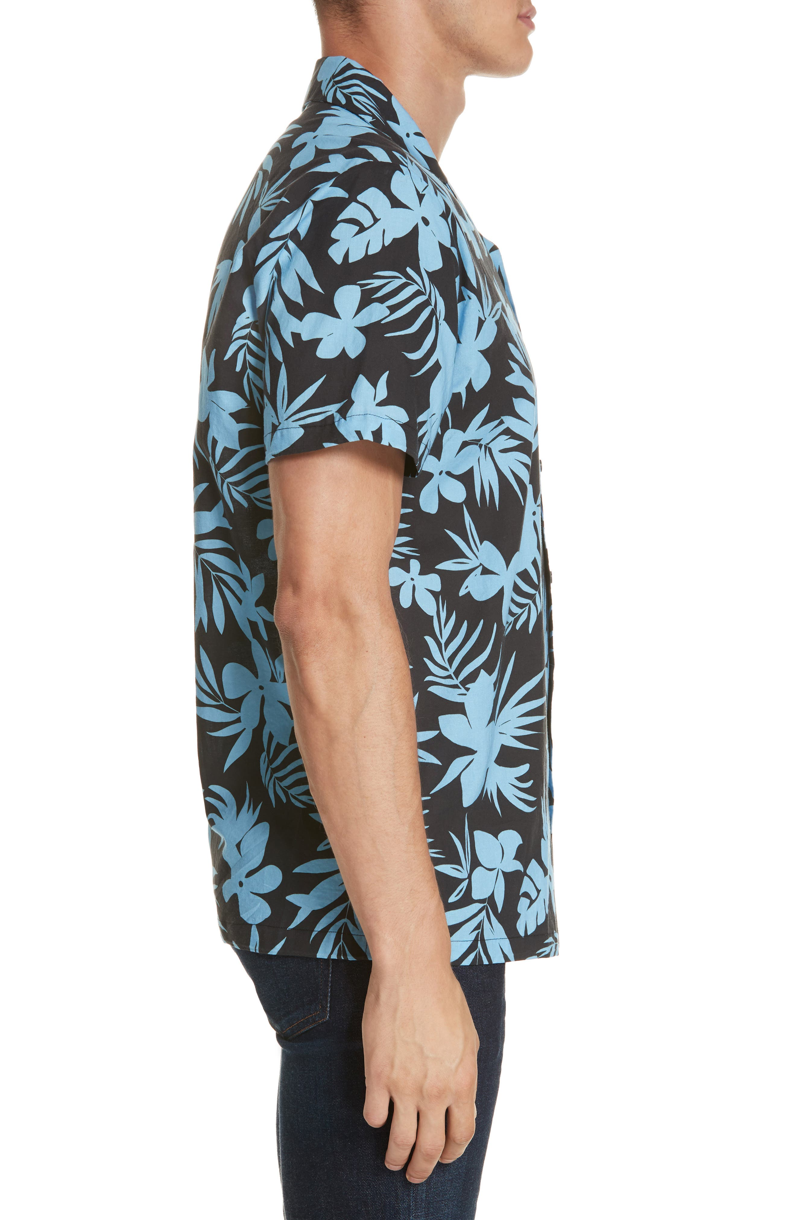 ONIA, Hibiscus Print Camp Shirt, Alternate thumbnail 4, color, BLACK