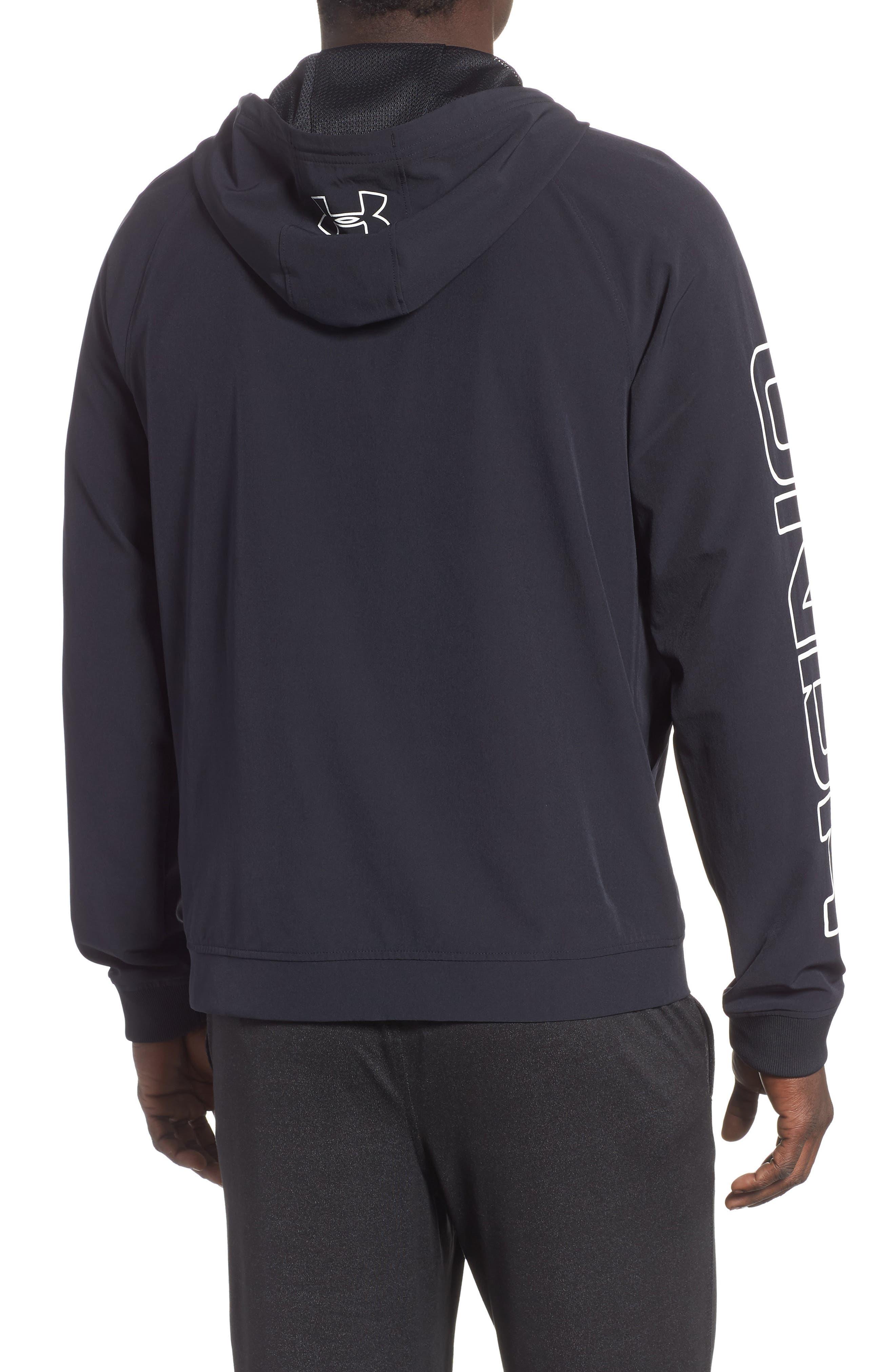 UNDER ARMOUR, Baseline Hooded Jacket, Alternate thumbnail 2, color, 001