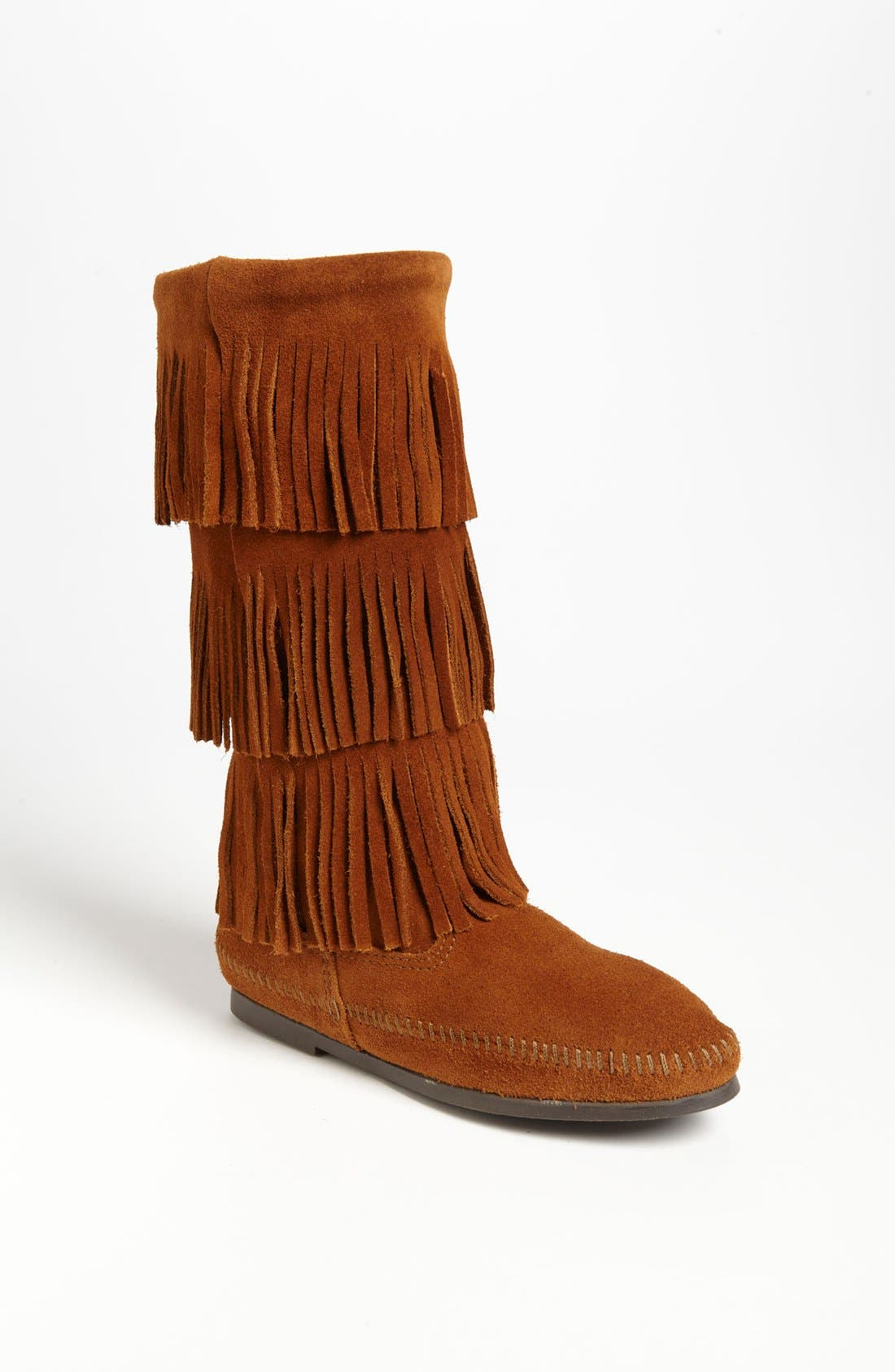 MINNETONKA, 3-Layer Fringe Boot, Main thumbnail 1, color, BROWN SUEDE