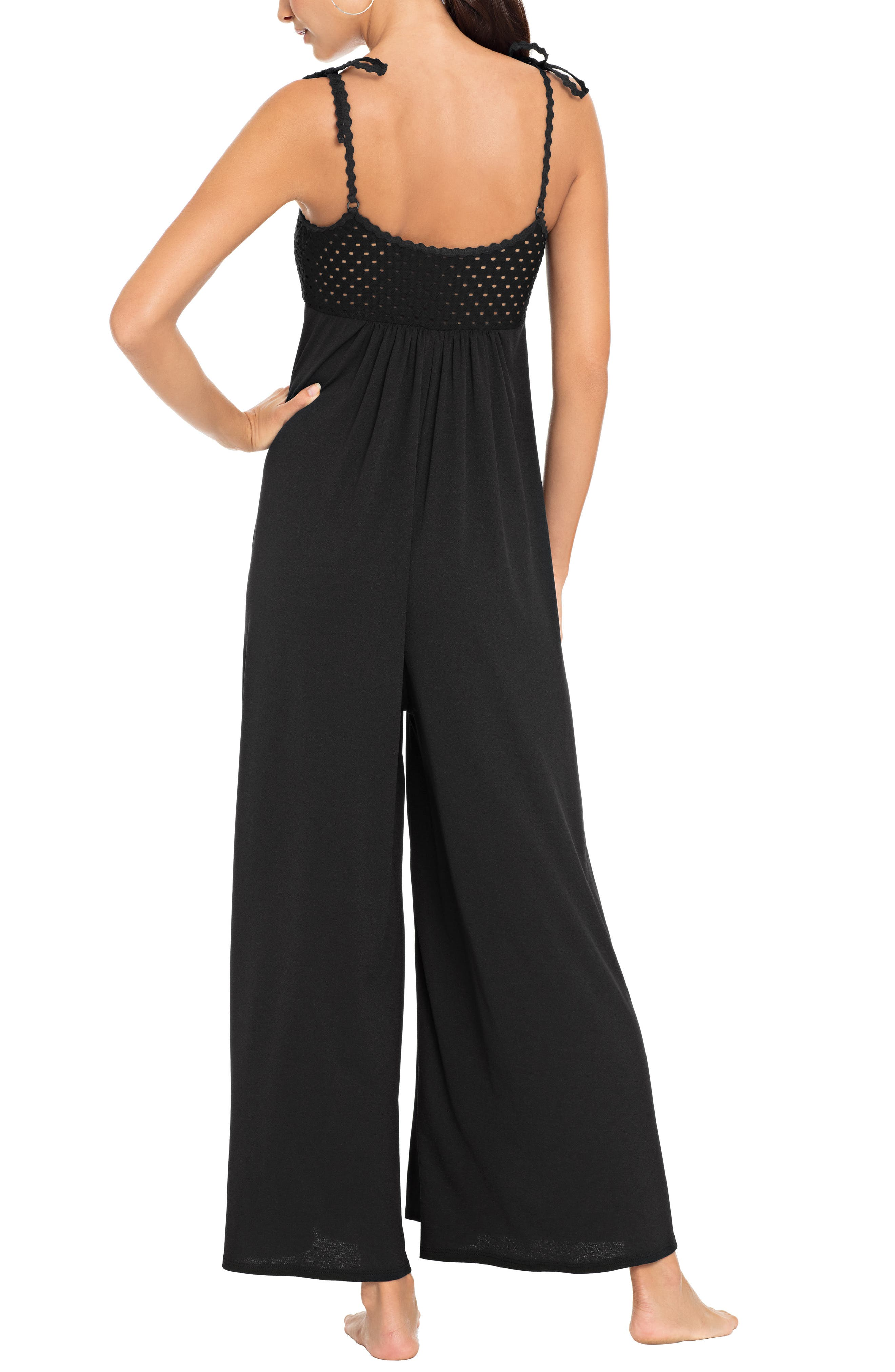 ROBIN PICCONE, Chira Jumpsuit Cover-Up, Alternate thumbnail 2, color, BLACK