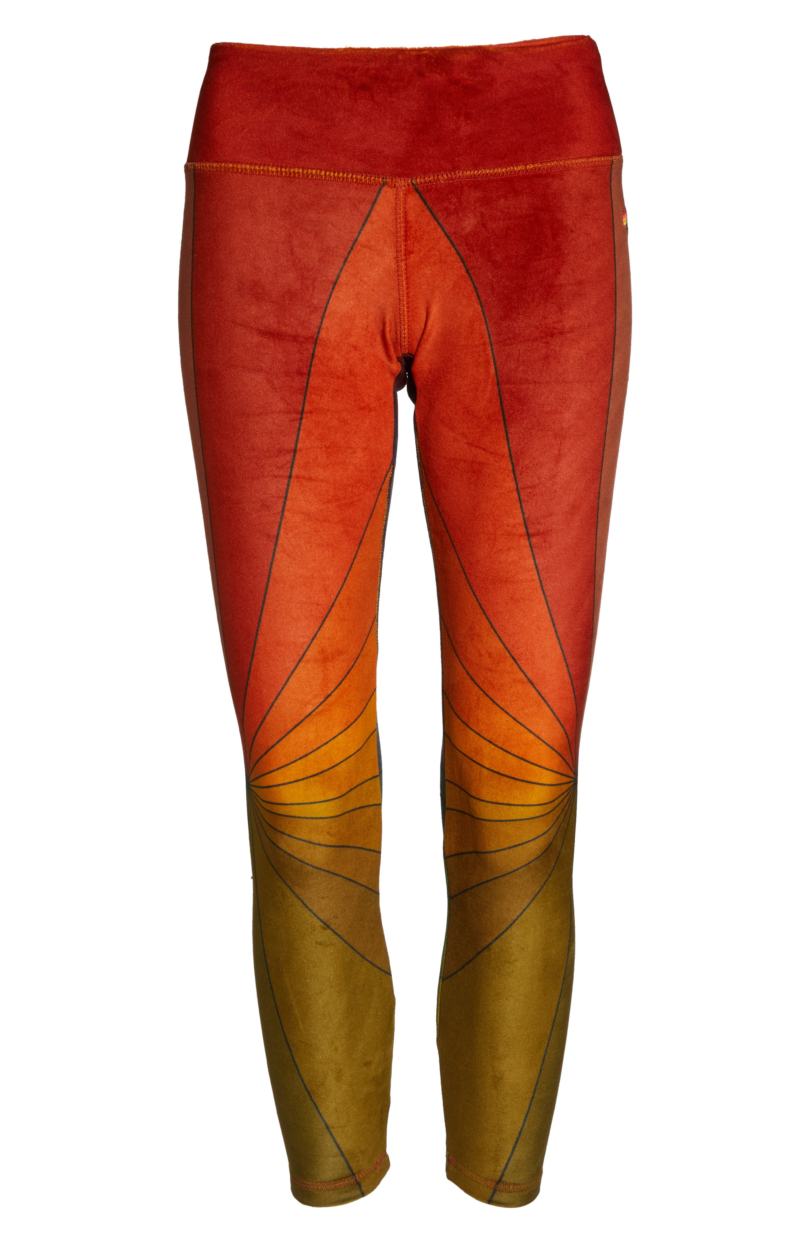 AVIATOR NATION, Rainbow Sunburst Velour Leggings, Alternate thumbnail 7, color, 600